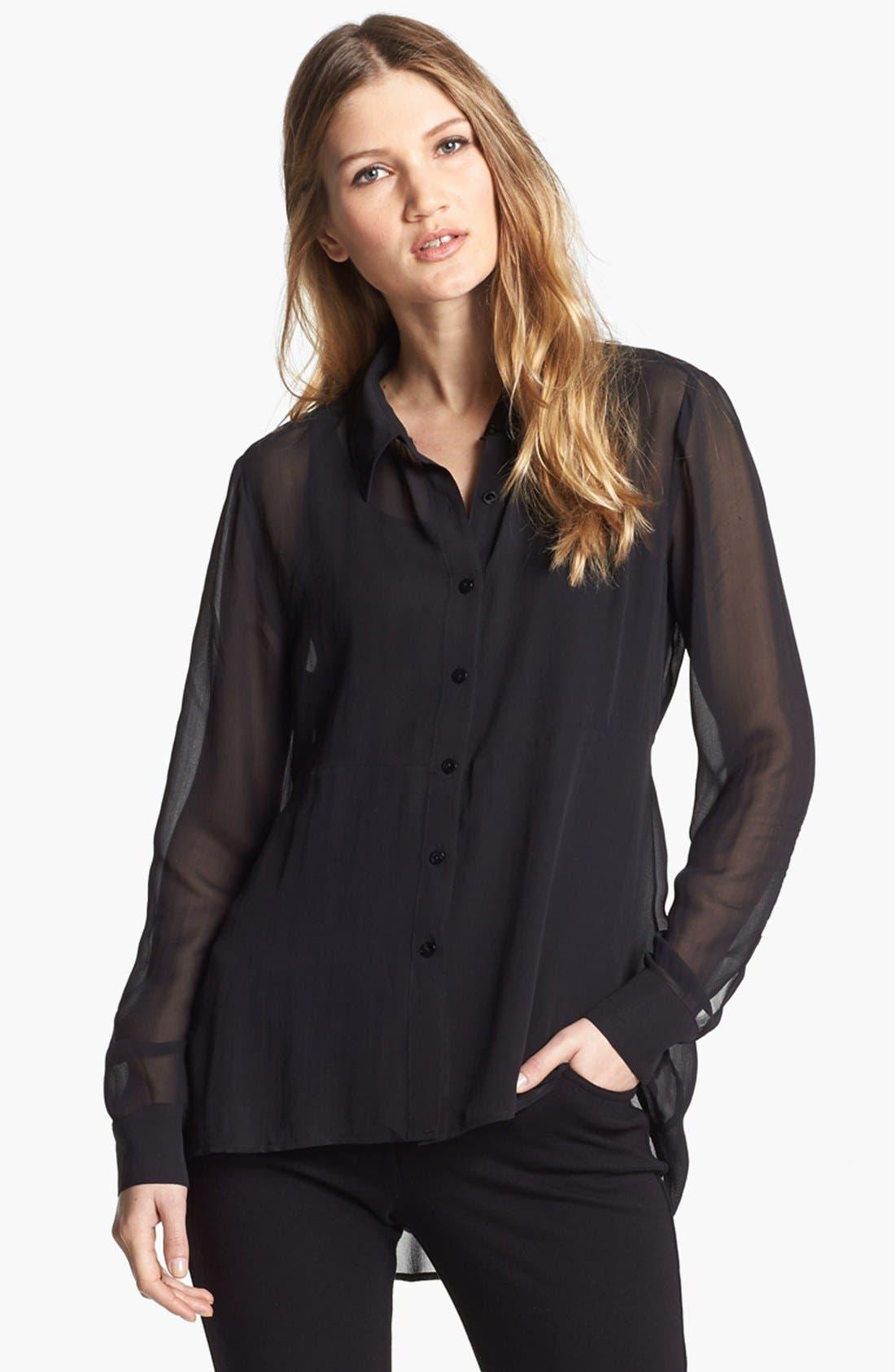 Alternate Image 1 Selected - Eileen Fisher Sheer Silk Georgette Shirt