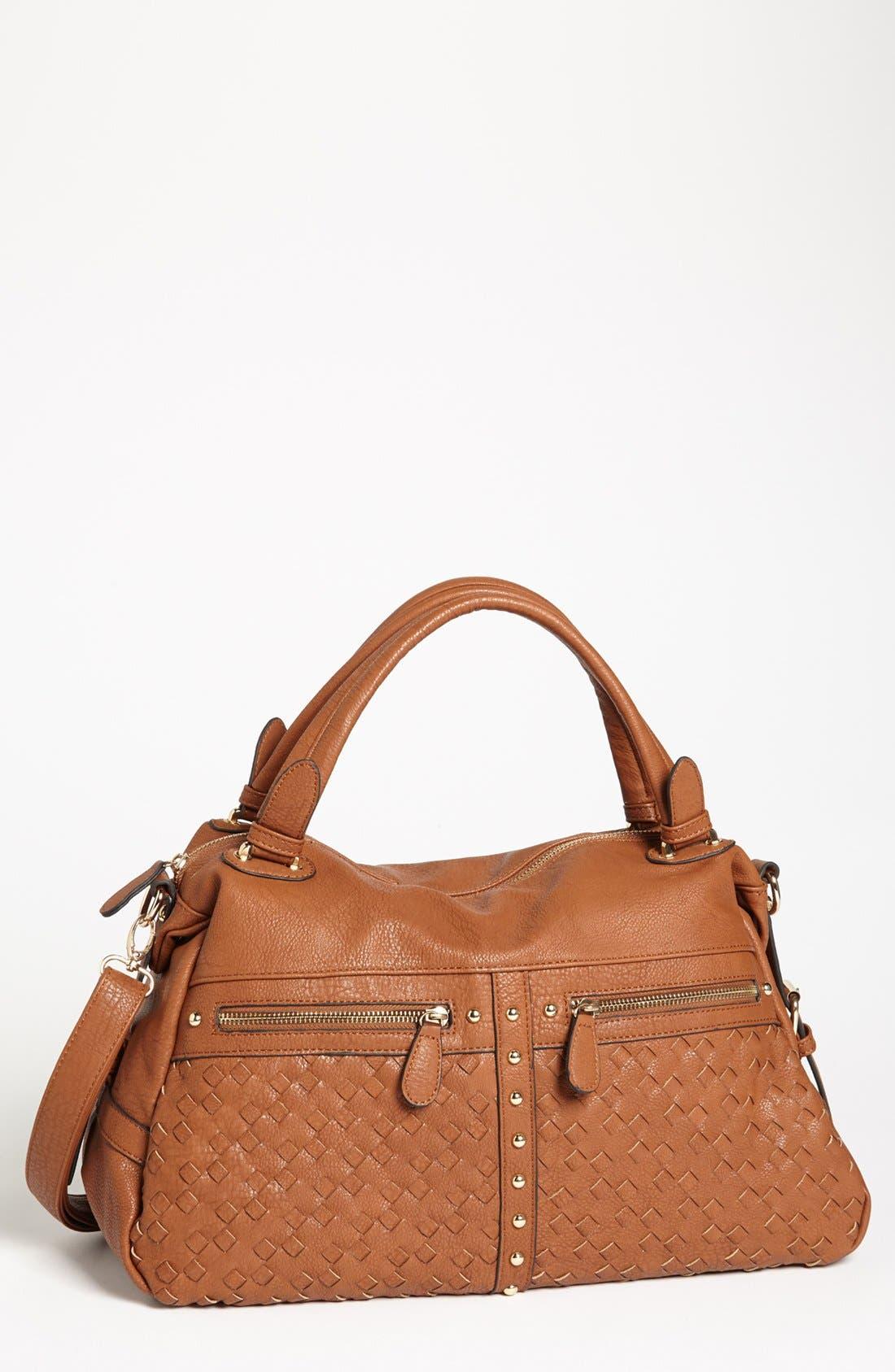 Main Image - NB Handbags Weave Detail Faux Leather Satchel (Juniors)