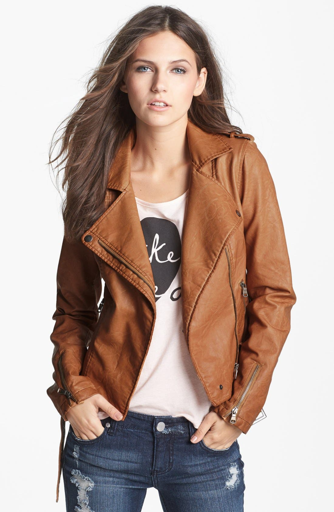 Main Image - Thread & Supply Faux Leather Moto Jacket (Juniors) (Online Only)