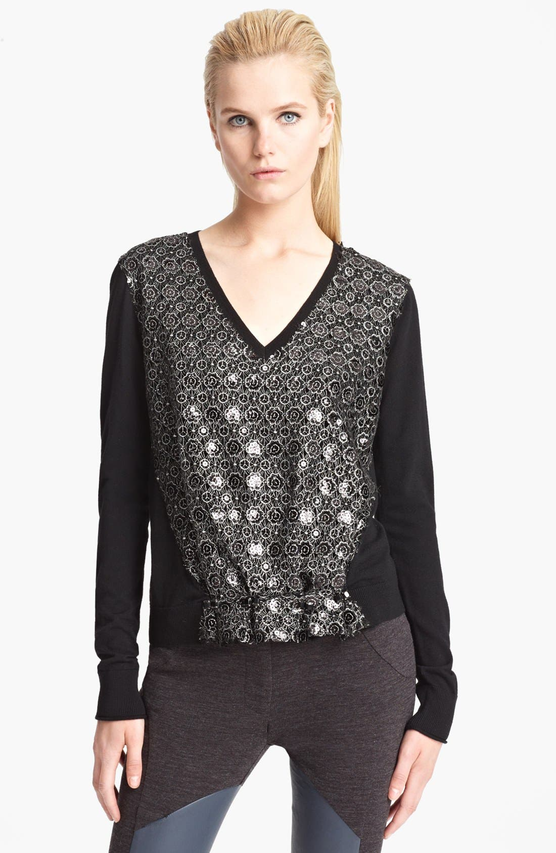 Main Image - Thakoon Lace Front V-Neck Sweater