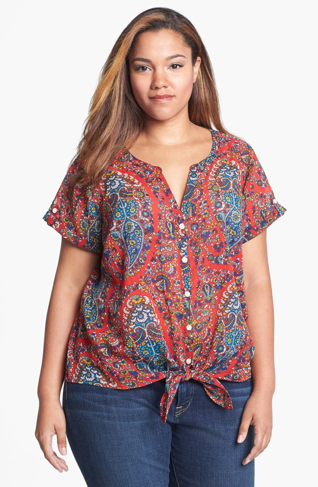 Main Image - Lucky Brand 'Cameron' Tie Front Paisley Top (Plus Size)
