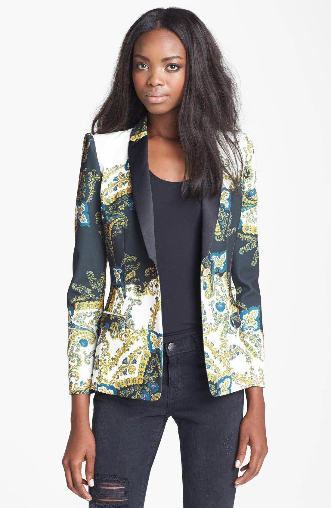 Alternate Image 1 Selected - Just Cavalli Contrast Lapel Paisley Print Jacket
