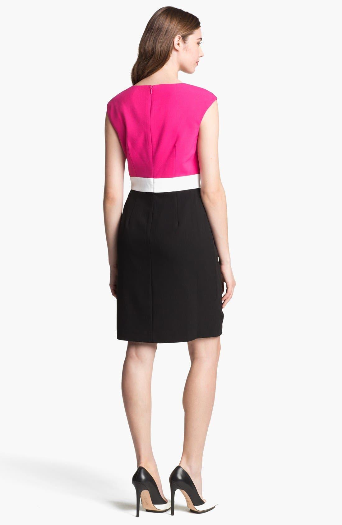 Alternate Image 2  - Calvin Klein Colorblock Side Drape Sheath Dress (Petite)