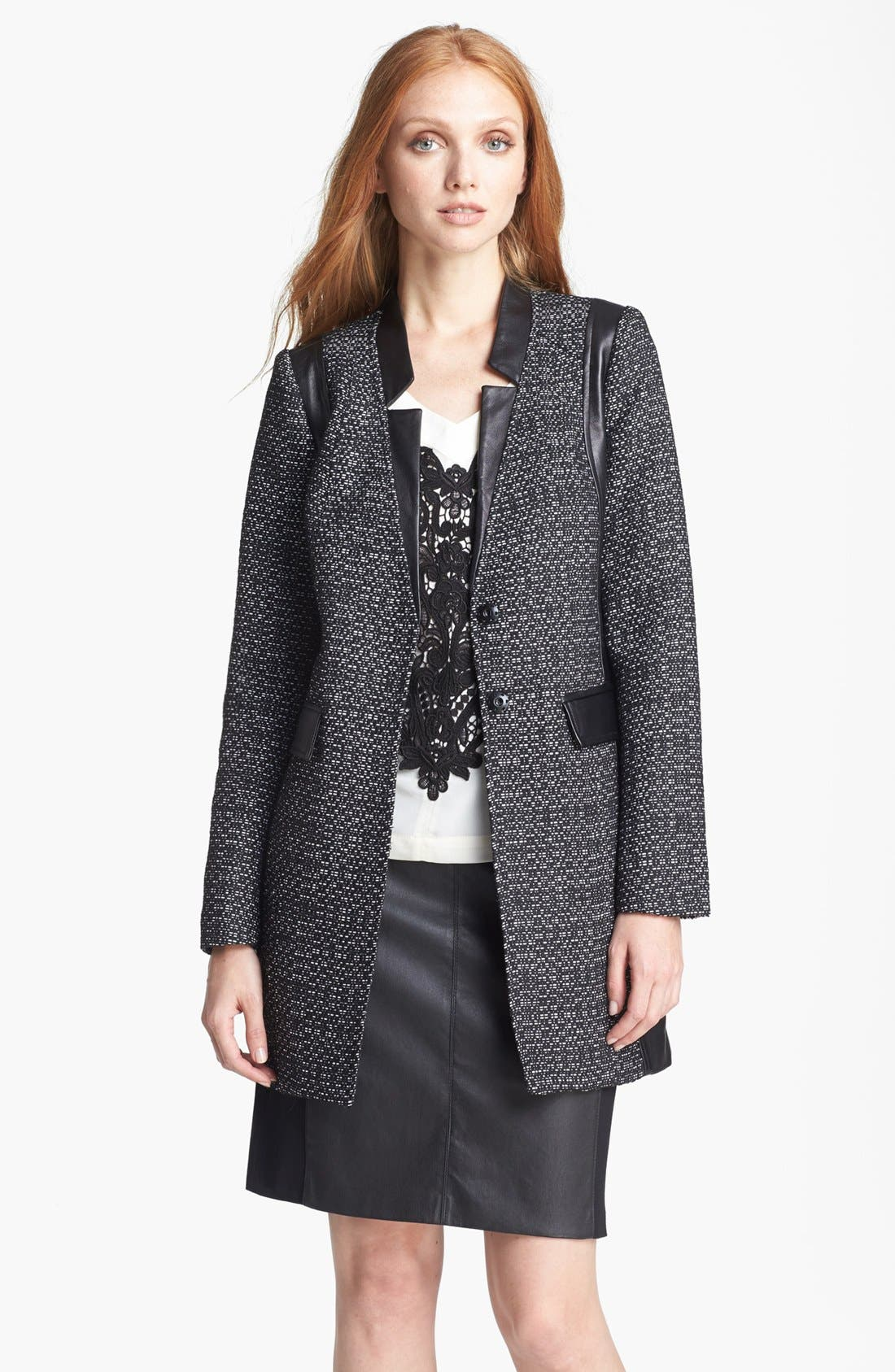 Alternate Image 1 Selected - Nanette Lepore 'Big Top' Tweed & Leather Coat