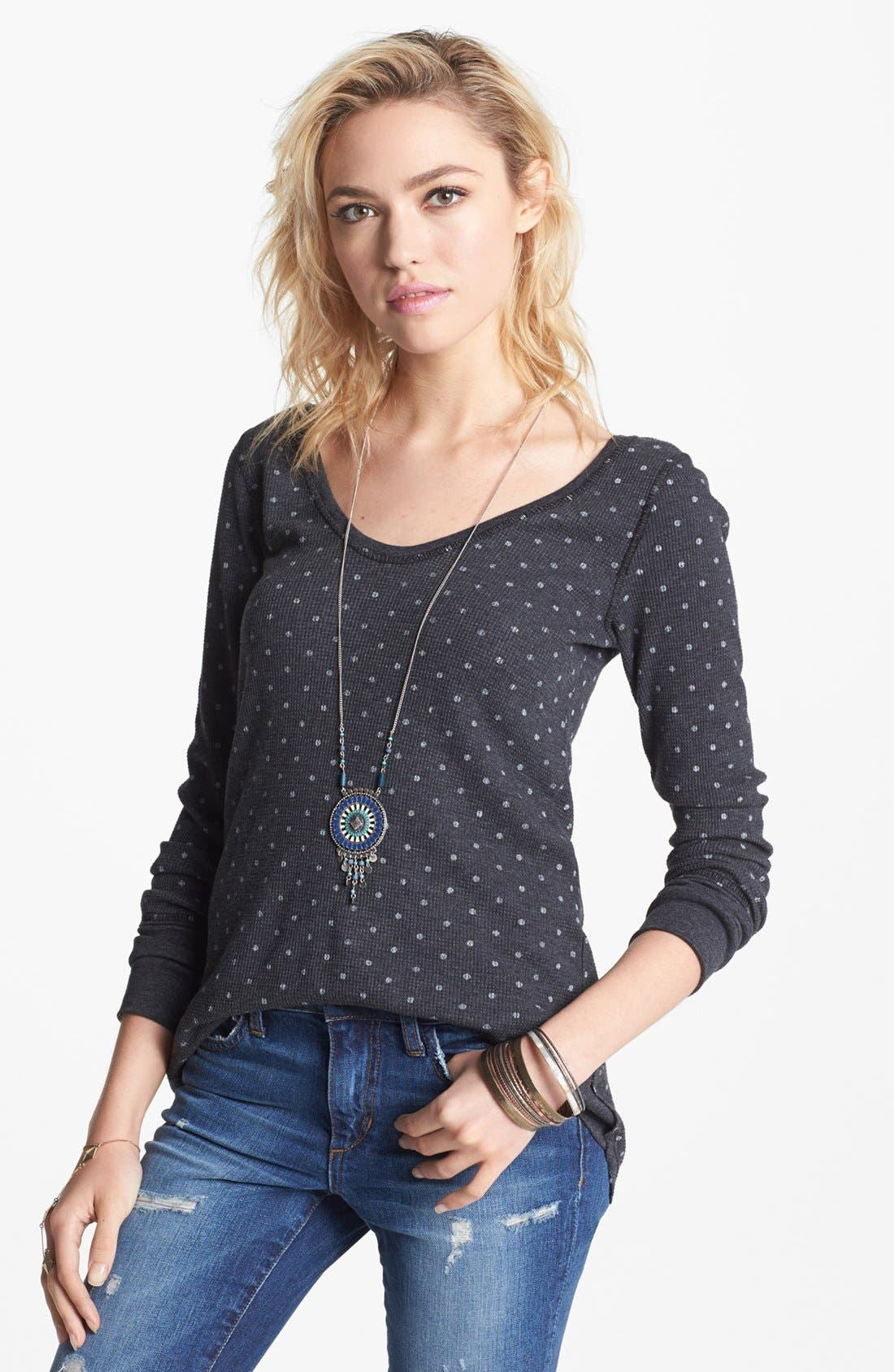 Alternate Image 1 Selected - Free People Polka Dot Thermal Tee