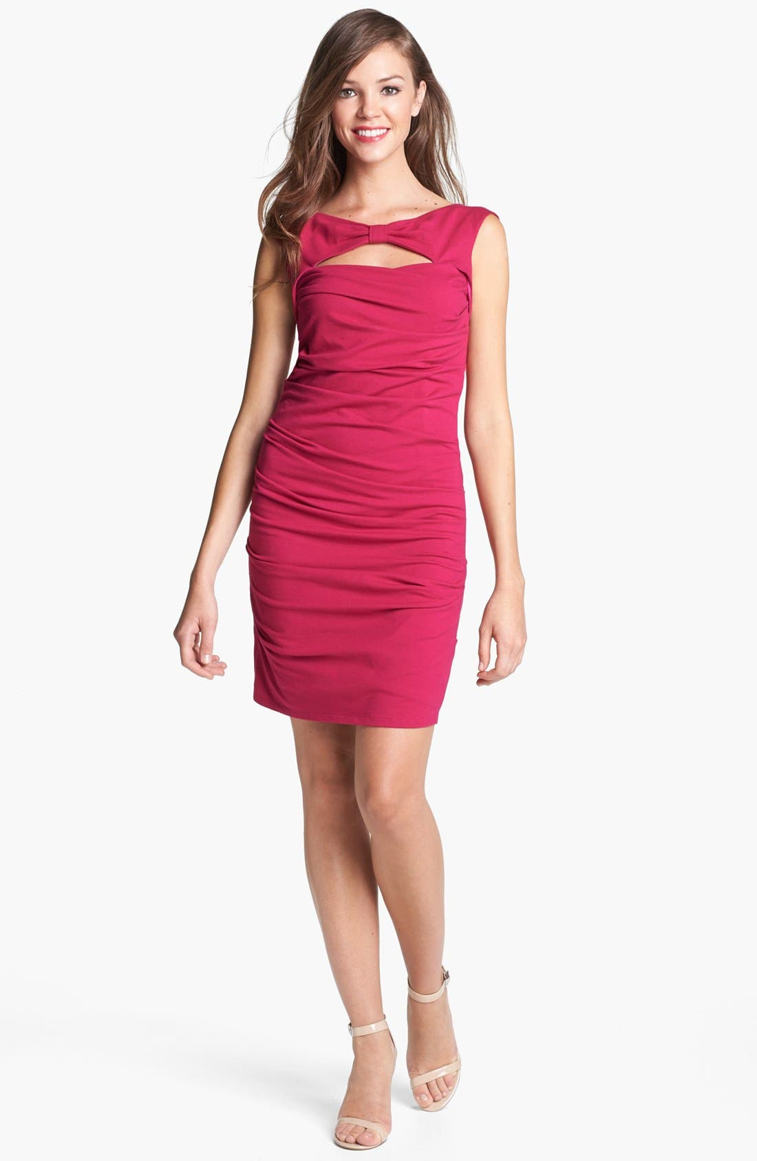 Main Image - Betsey Johnson Bow Detail Ruched Sheath Dress