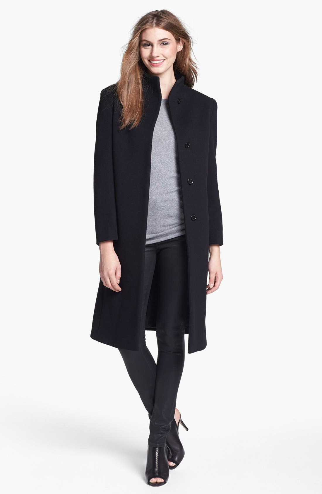 Alternate Image 4  - Cinzia Rocca Due Funnel Neck Wool & Cashmere Blend Walking Coat (Petite)