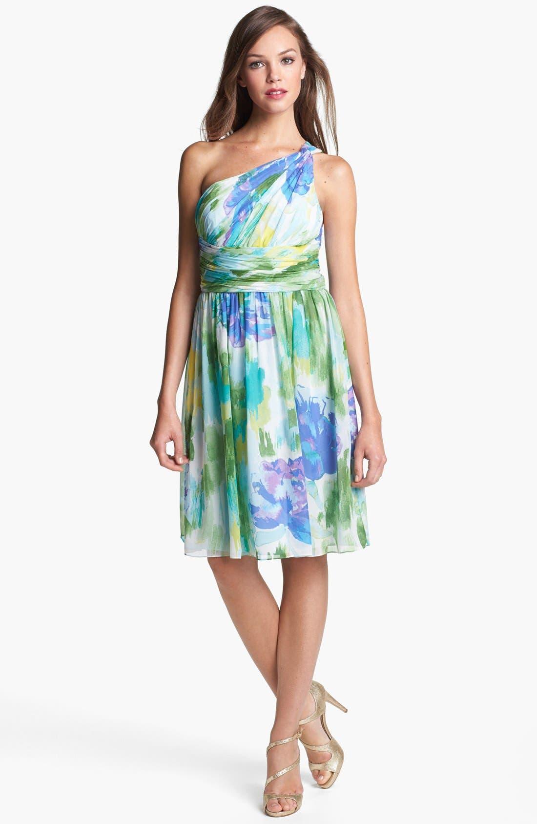 Alternate Image 3  - Donna Morgan 'Rhea' One-Shoulder Print Dress (Online Only)