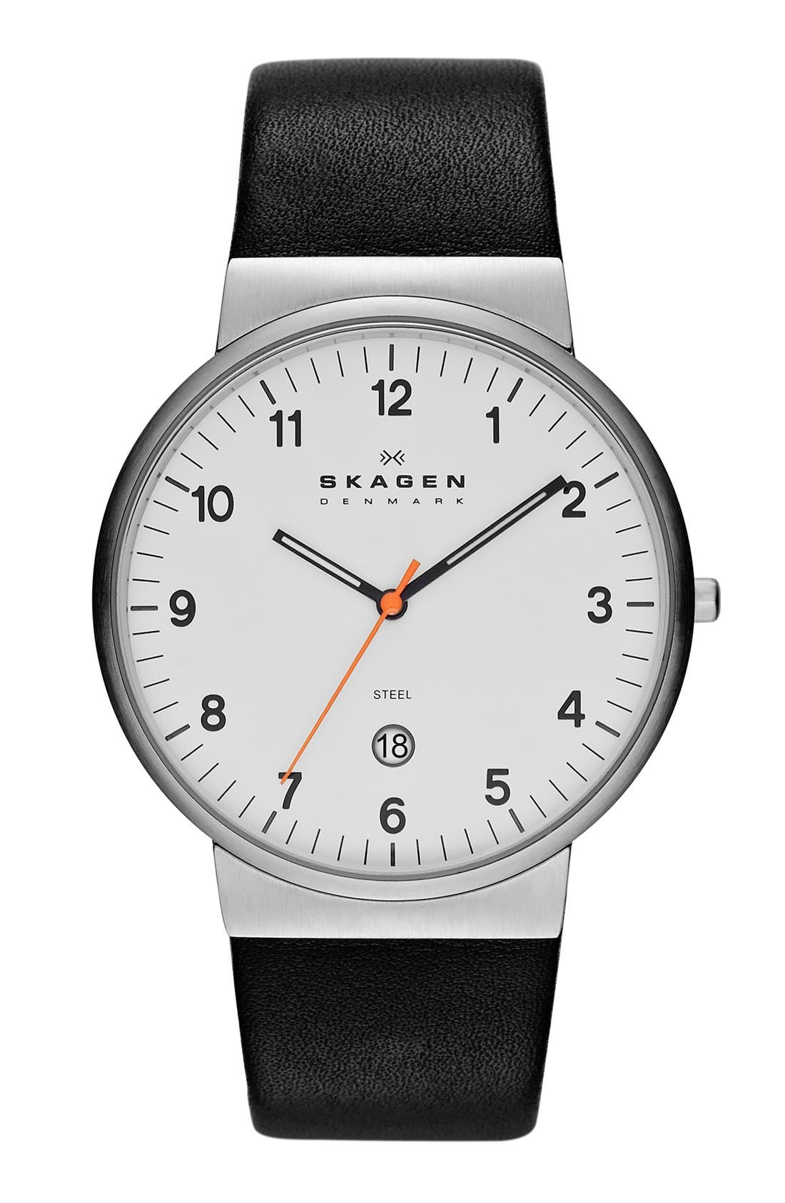 Alternate Image 1 Selected - Skagen 'Ancher' Round Leather Strap Watch, 39mm