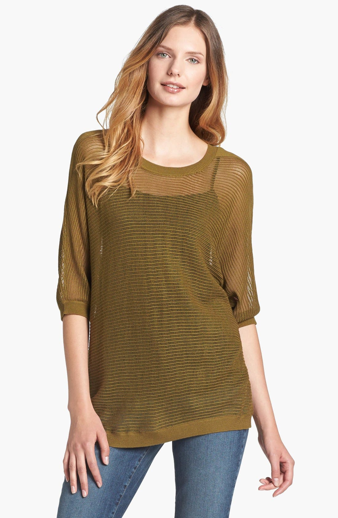 Alternate Image 1 Selected - Fever Elbow Sleeve Mesh Tunic