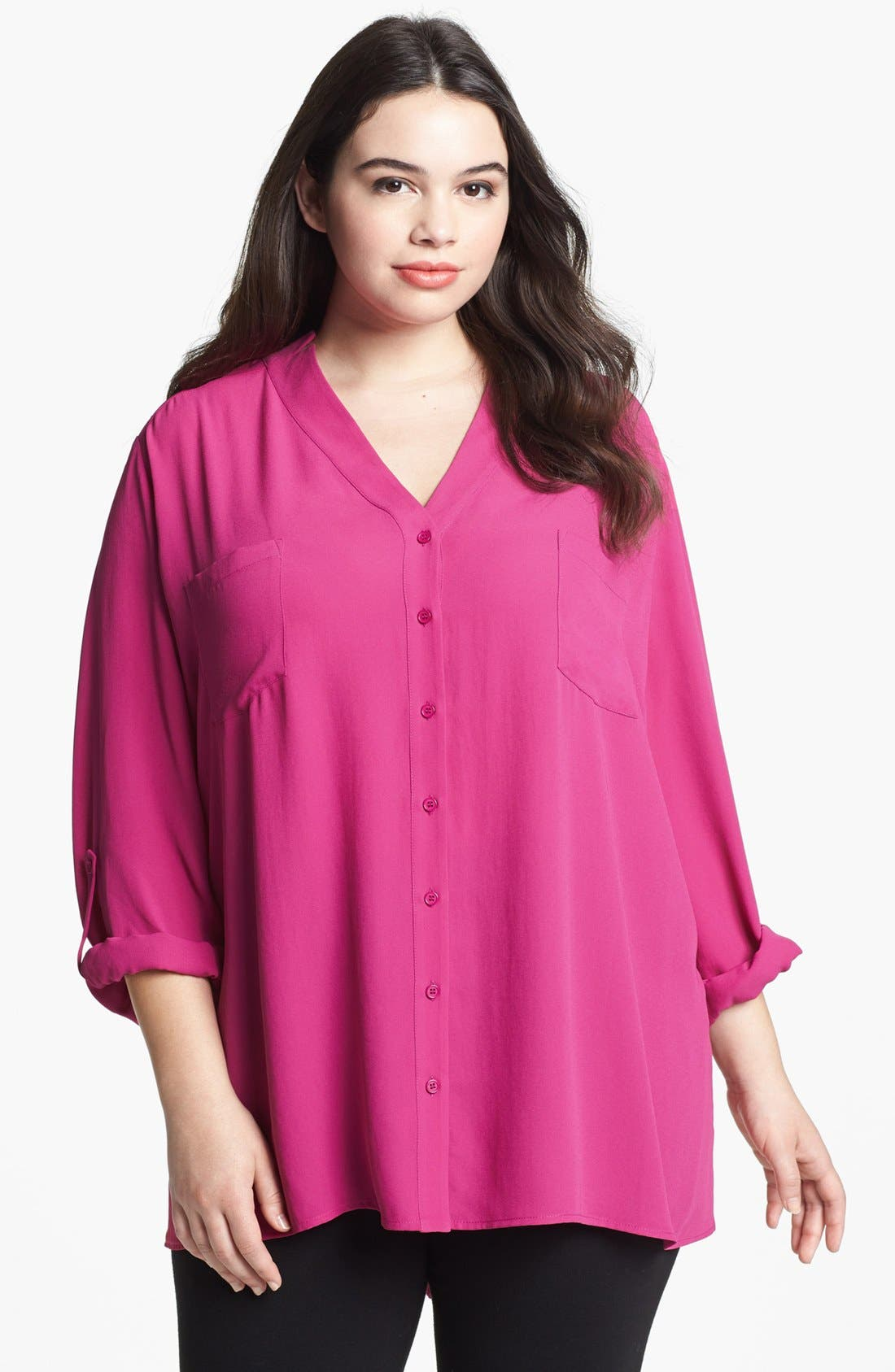 Alternate Image 1 Selected - Pleione V-Neck Blouse (Plus Size)