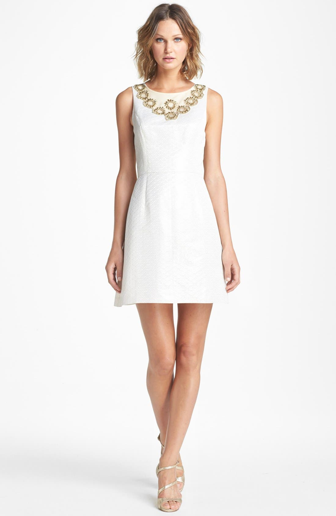 Main Image - Lilly Pulitzer® 'Wythe' Embellished Jacquard Fit & Flare Dress