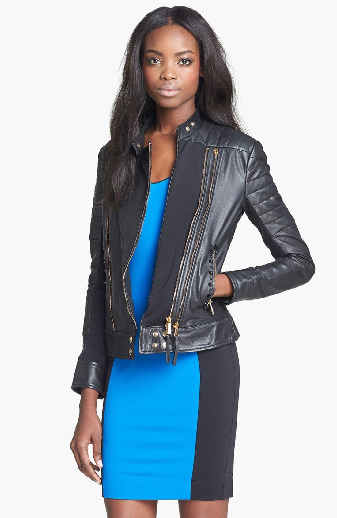 Alternate Image 1 Selected - Just Cavalli Leather Moto Jacket