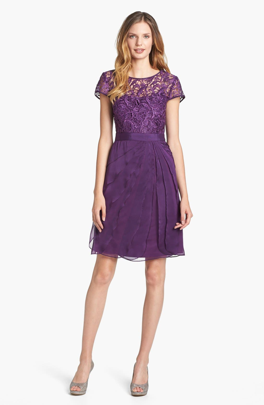 Alternate Image 1 Selected - Adrianna Papell Lace & Tiered Chiffon Dress (Regular & Petite)