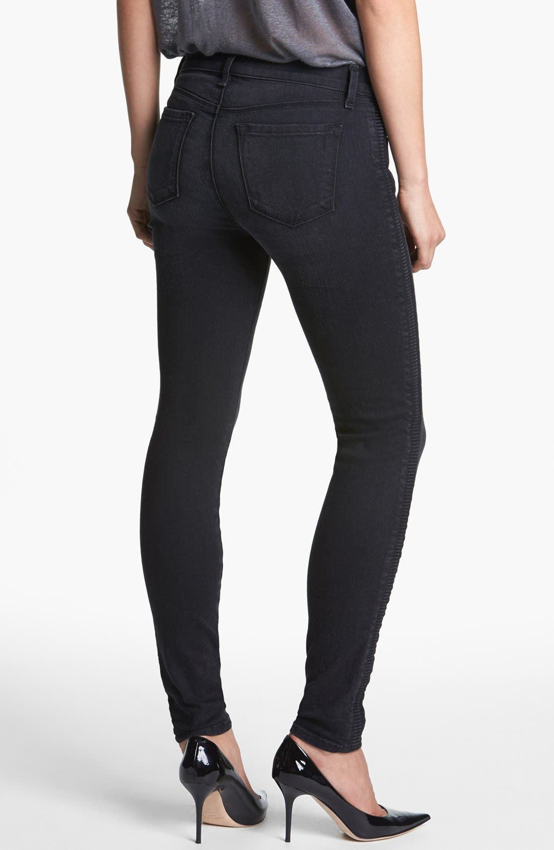 Alternate Image 2  - J Brand '8072 The Liberty' Side Pleat Skinny Jeans (Graphite)