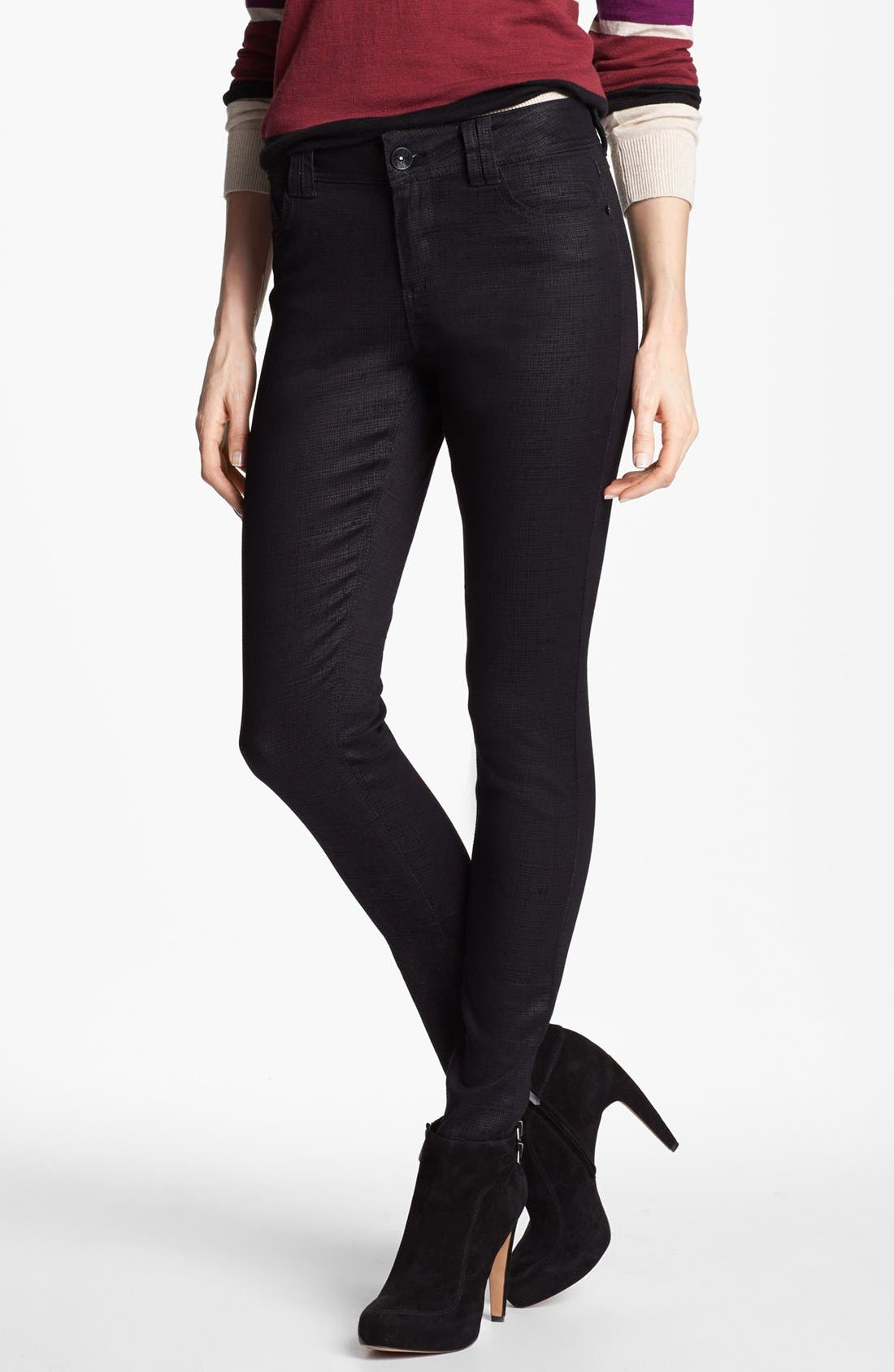 Main Image - Wit & Wisdom Graphic Coated Skinny Jeans (Black) (Nordstrom Exclusive)