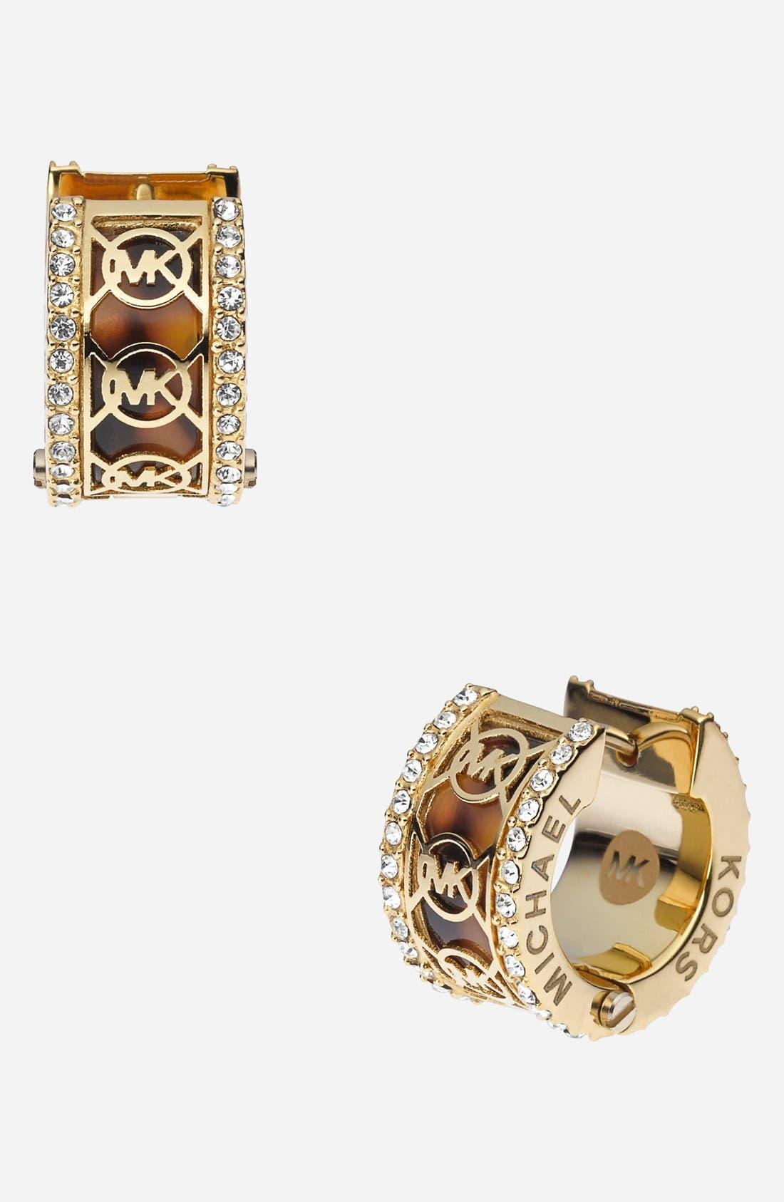 Alternate Image 1 Selected - Michael Kors 'Monogram' Small Hoop Earrings