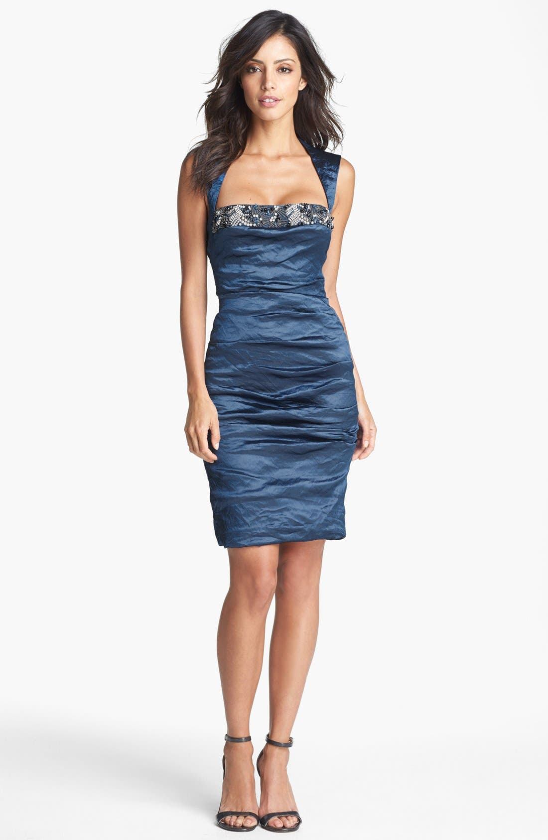 Main Image - Nicole Miller Techno Metal Embellished Sheath Dress