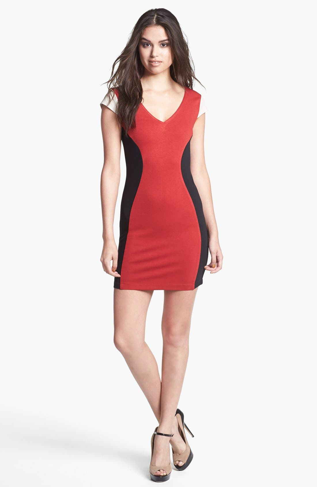 Alternate Image 1 Selected - Madison Marcus Faux Leather Sleeve Colorblock Sheath Dress