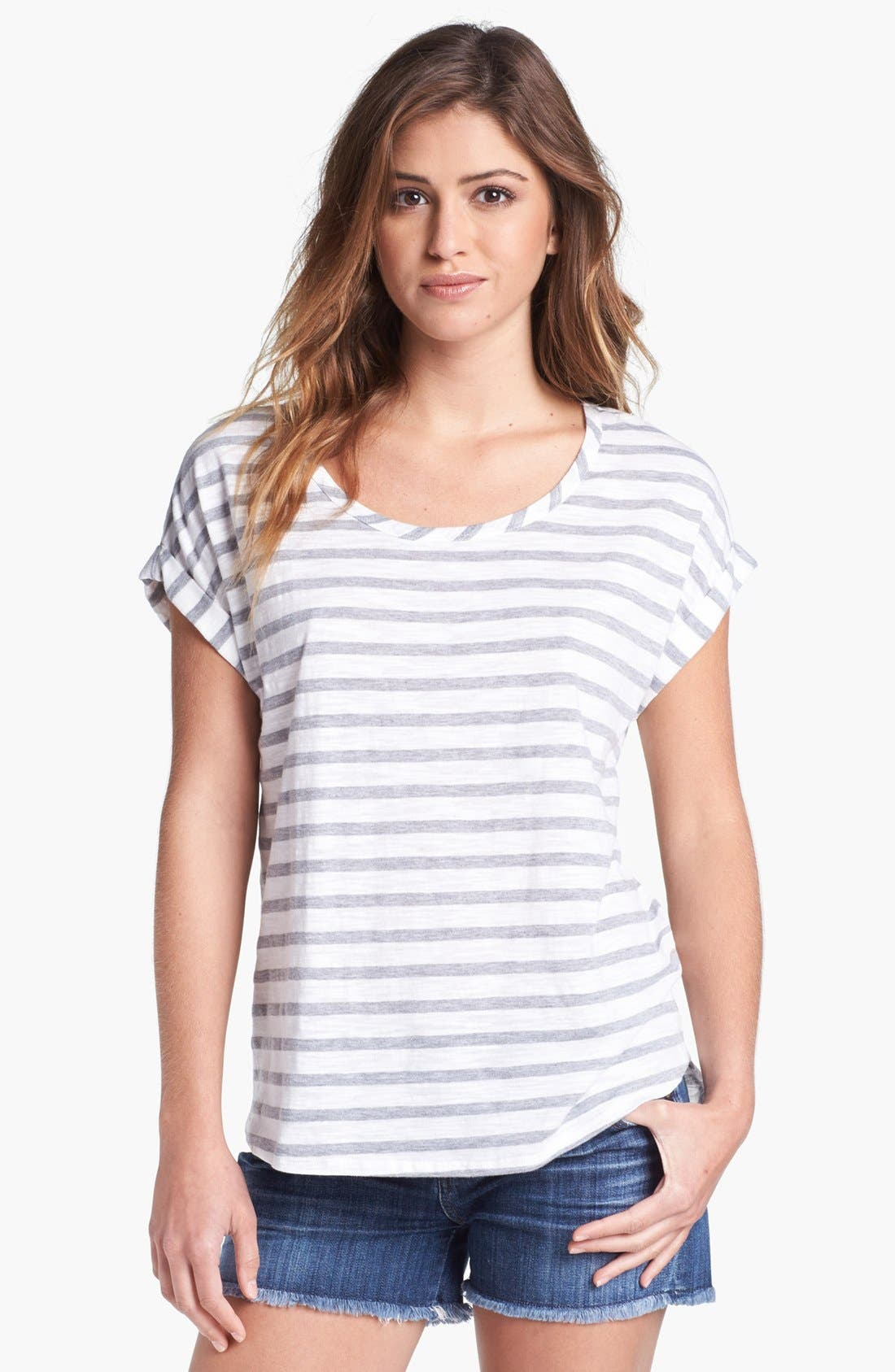 Alternate Image 1 Selected - Two by Vince Camuto Stripe Roll Sleeve Tee