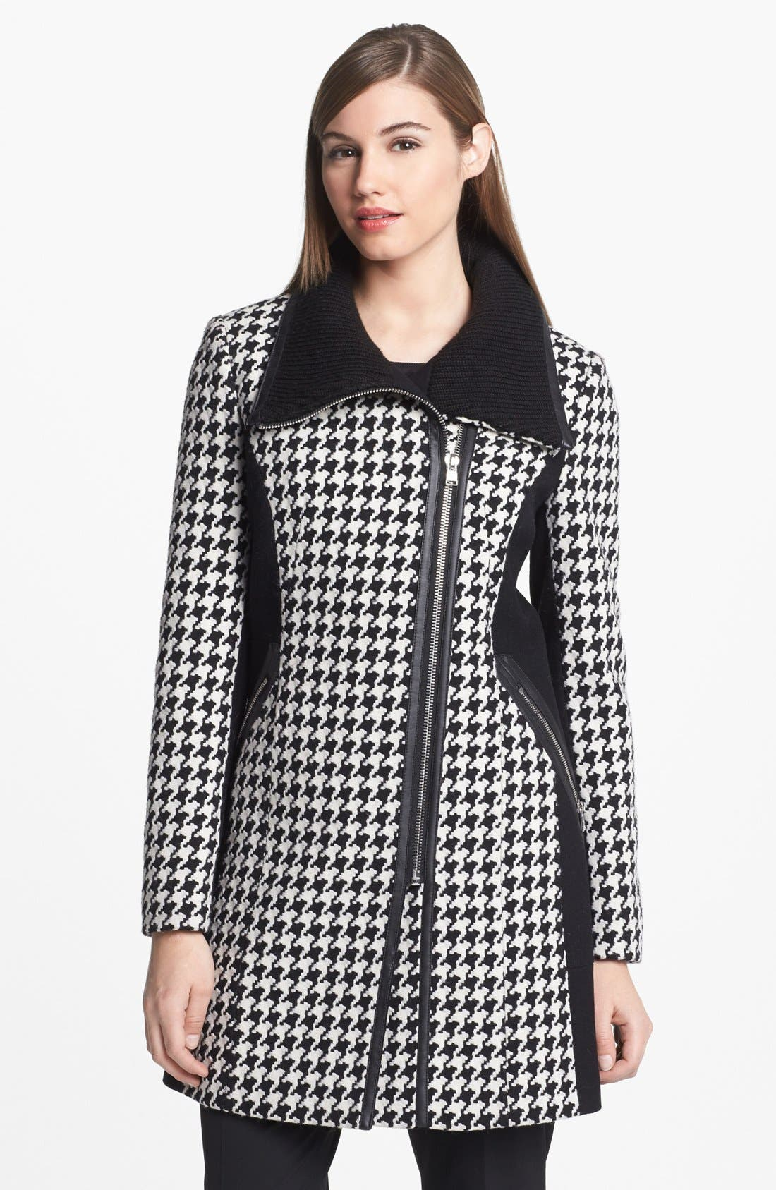 Main Image - Calvin Klein Colorblock Houndstooth Coat