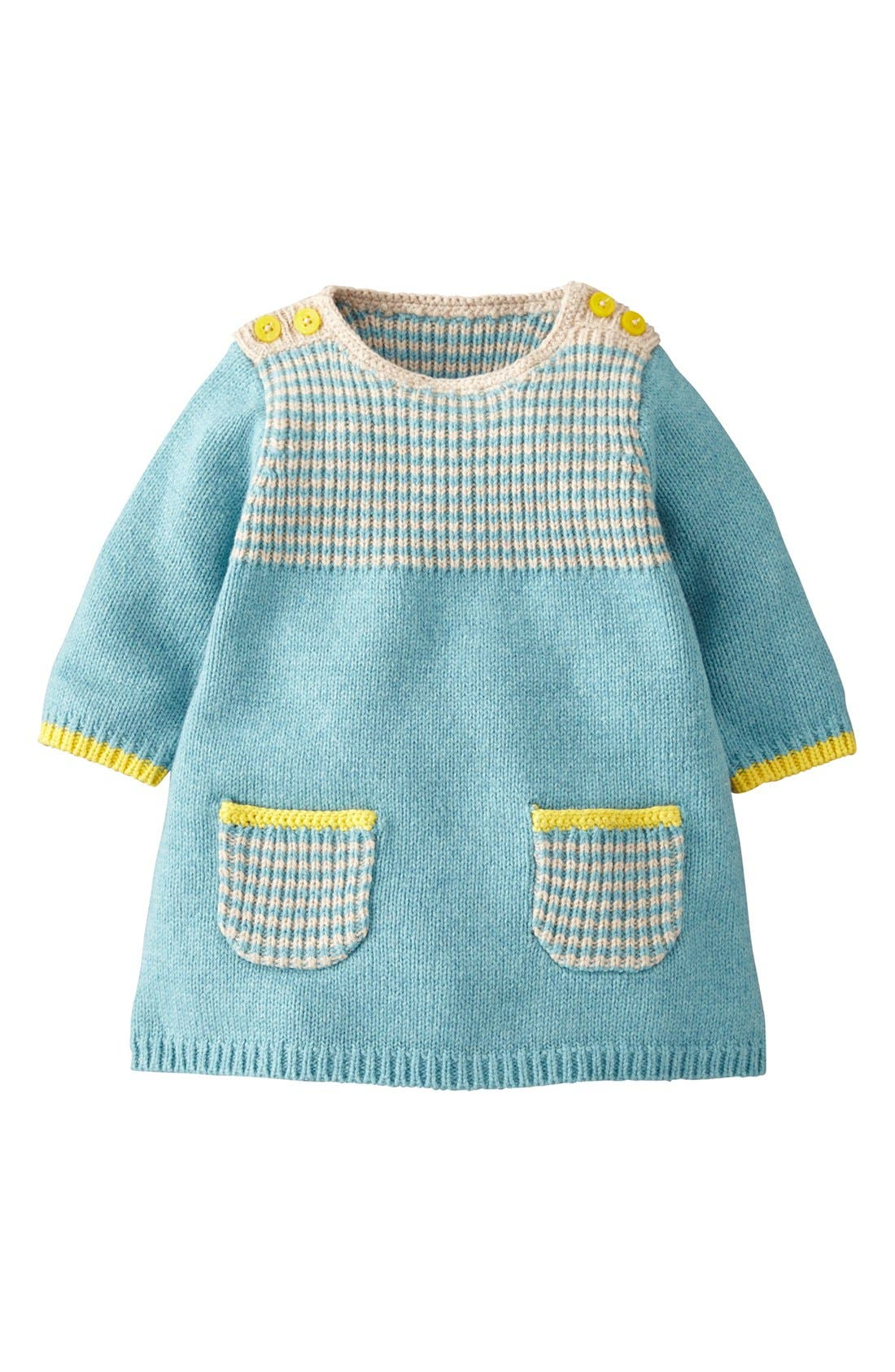 Alternate Image 1 Selected - Mini Boden 'Stripey' Knit Dress (Baby Girls)