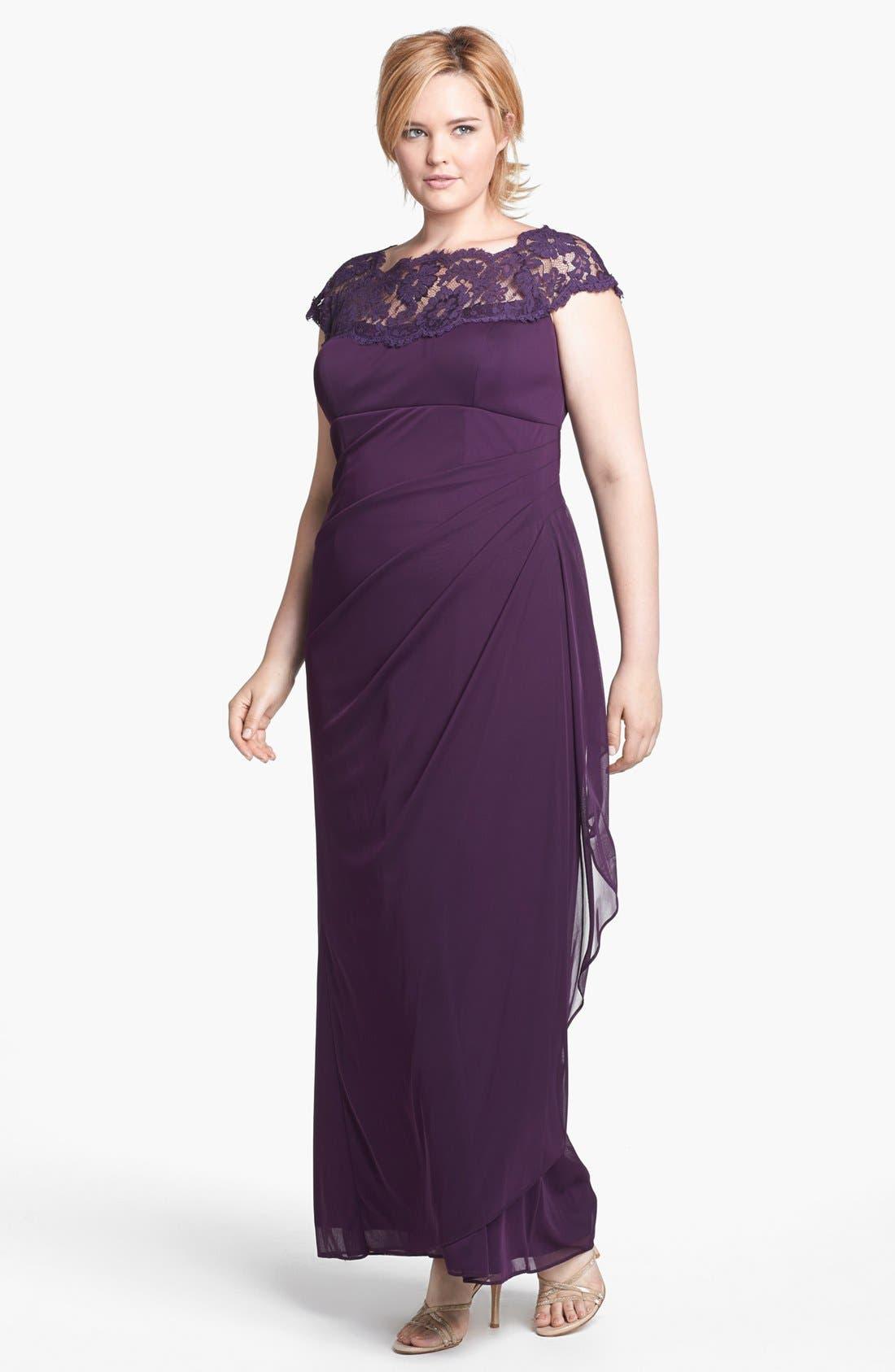 Main Image - Xscape Lace Yoke Mesh Gown (Plus Size)