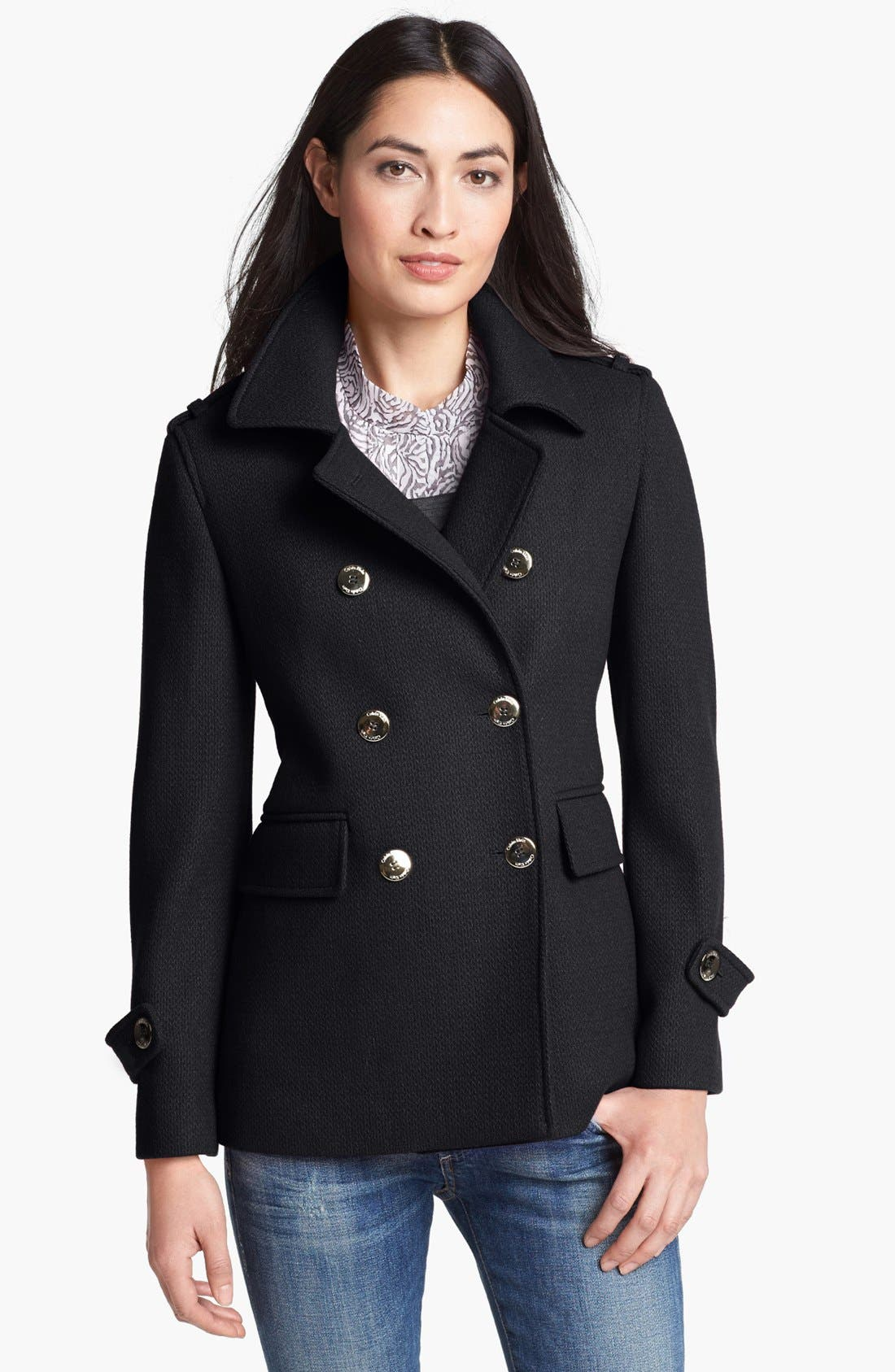 Alternate Image 1 Selected - Calvin Klein Textured Wool Blend Peacoat (Online Only)
