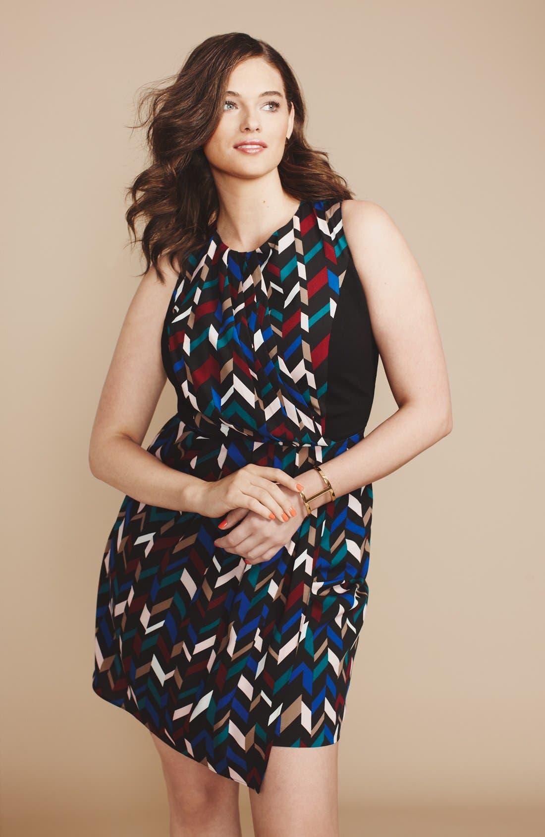 Alternate Image 4  - DKNYC Geo Print Crepe Sheath Dress (Plus Size)