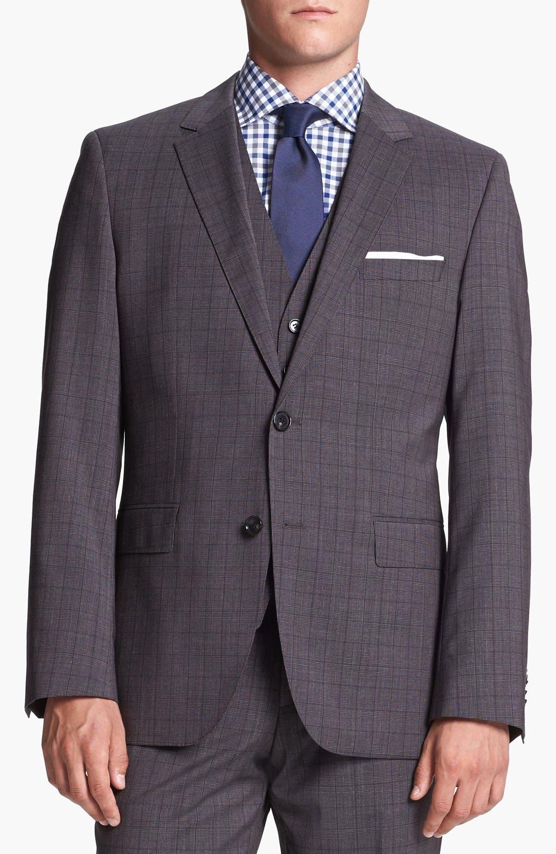 Alternate Image 4  - BOSS HUGO BOSS 'James/Sharp' Trim Fit Three Piece Plaid Suit