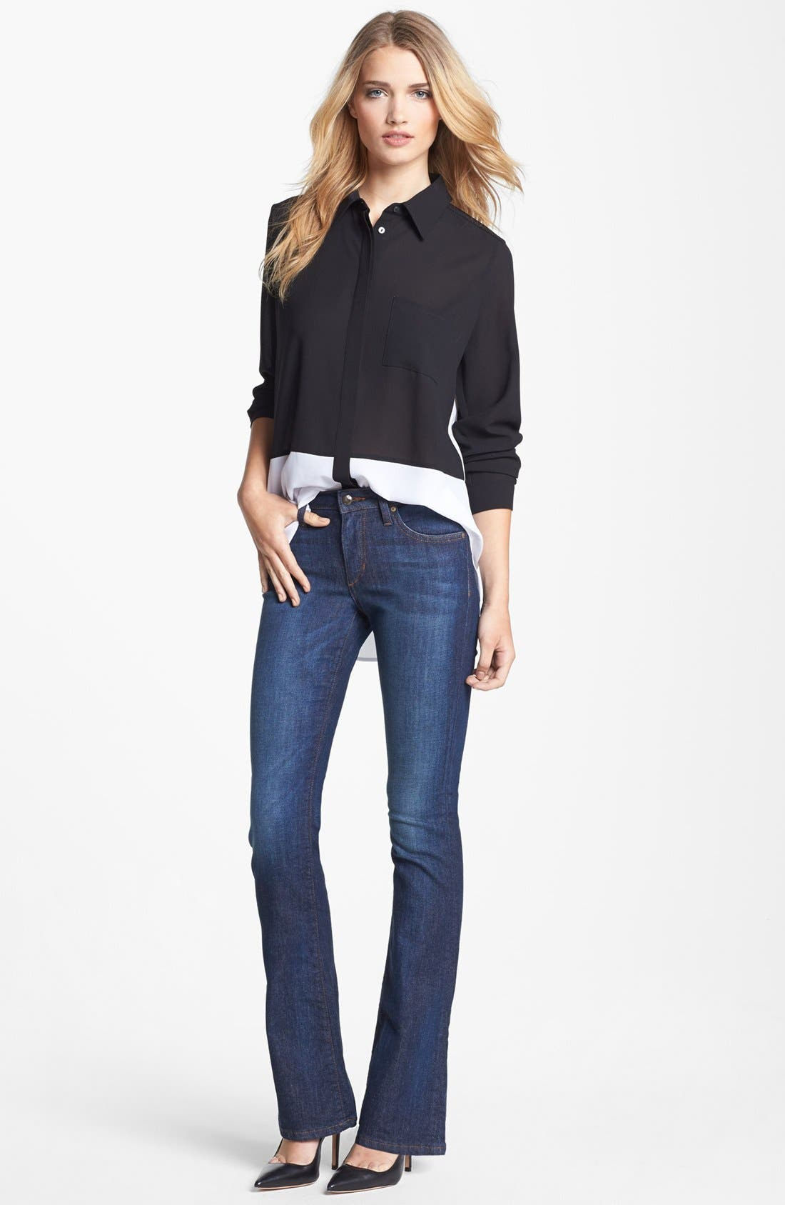 Alternate Image 2  - Fever Colorblock High/Low Blouse