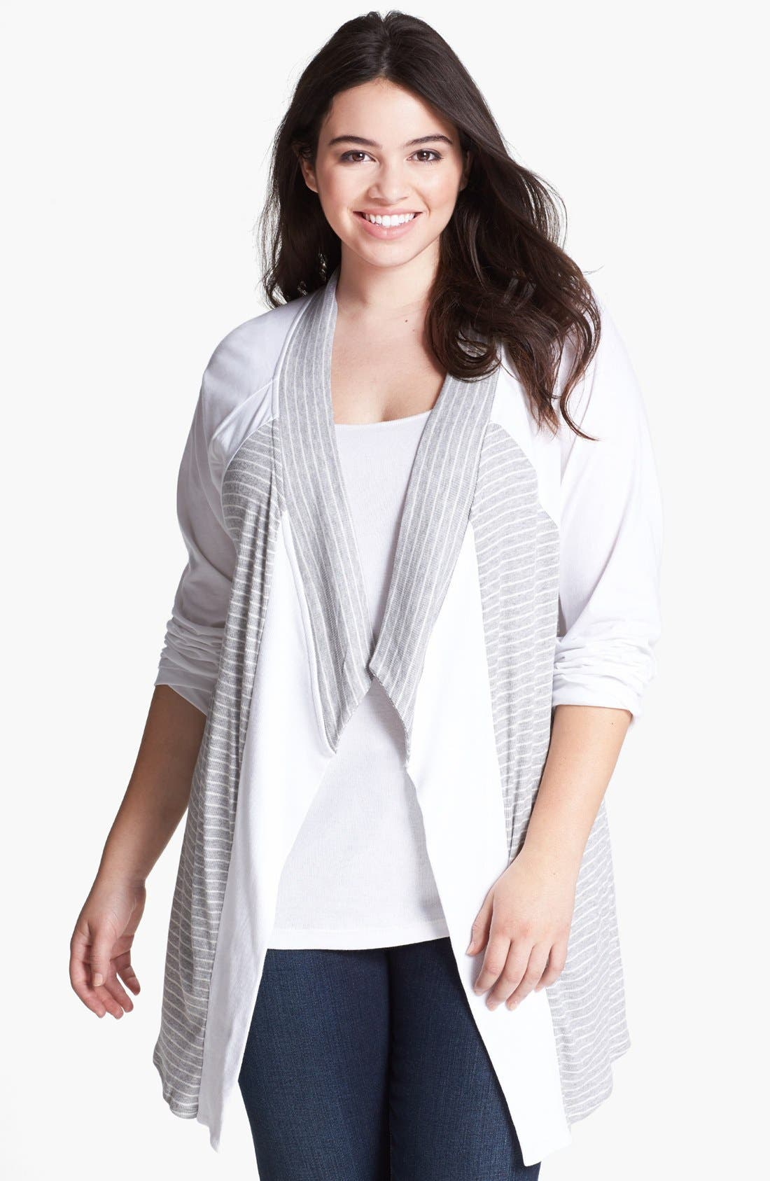 Alternate Image 1 Selected - LAmade Draped Jersey Cardigan (Plus Size)