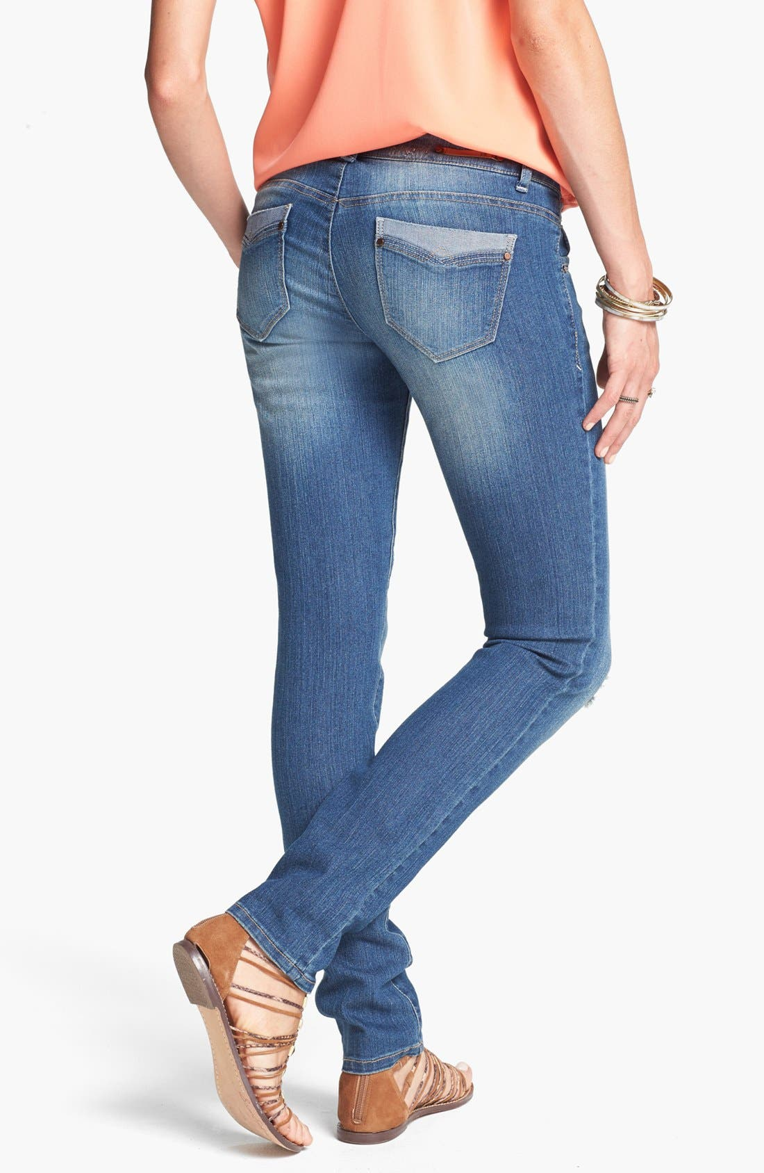 Alternate Image 2  - Jolt Western Pocket Destroyed Skinny Jeans (Medium) (Online Only)