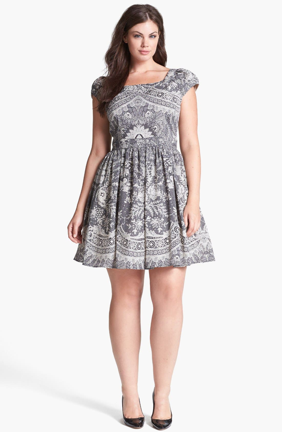 Main Image - ABS by Allen Schwartz Lace Print Fit & Flare Dress (Plus Size)