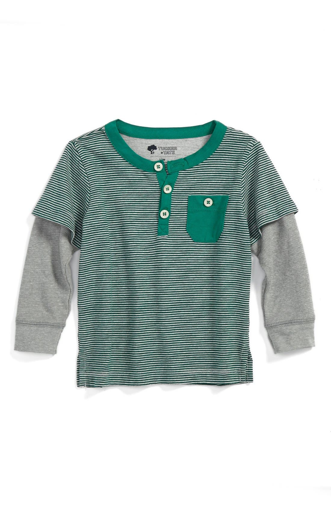 Alternate Image 1 Selected - Tucker + Tate 'Parker Road'  Layered Sleeve Henley T-Shirt (Toddler Boys)