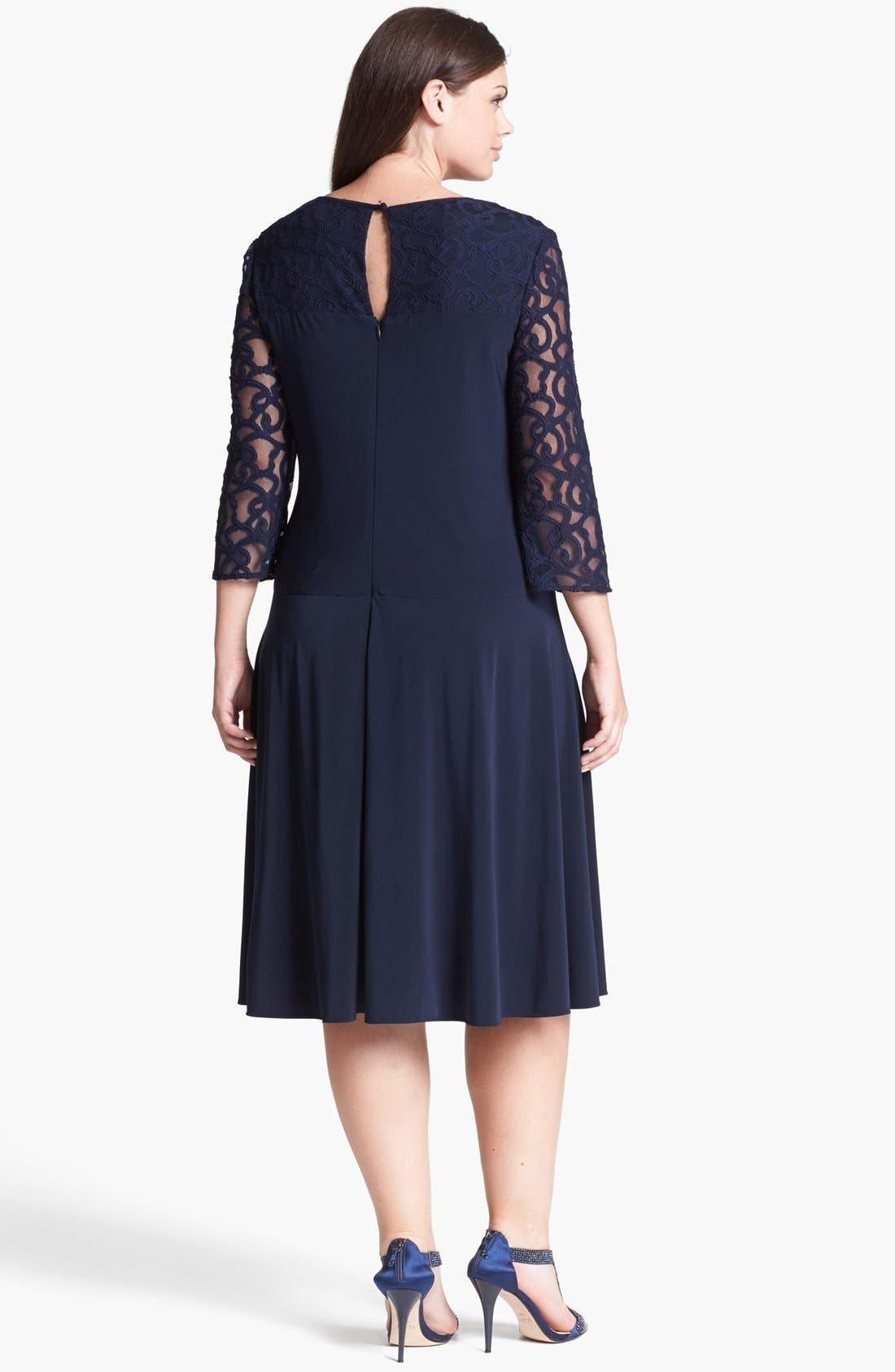 Alternate Image 2  - Adrianna Papell Lace Detail Jersey Fit & Flare Dress (Plus Size)