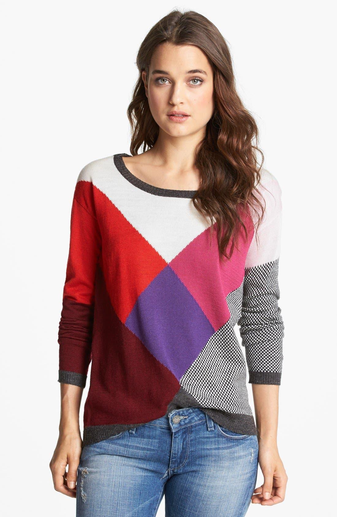 Alternate Image 1 Selected - Ella Moss Long Sleeve Multicolored Sweater