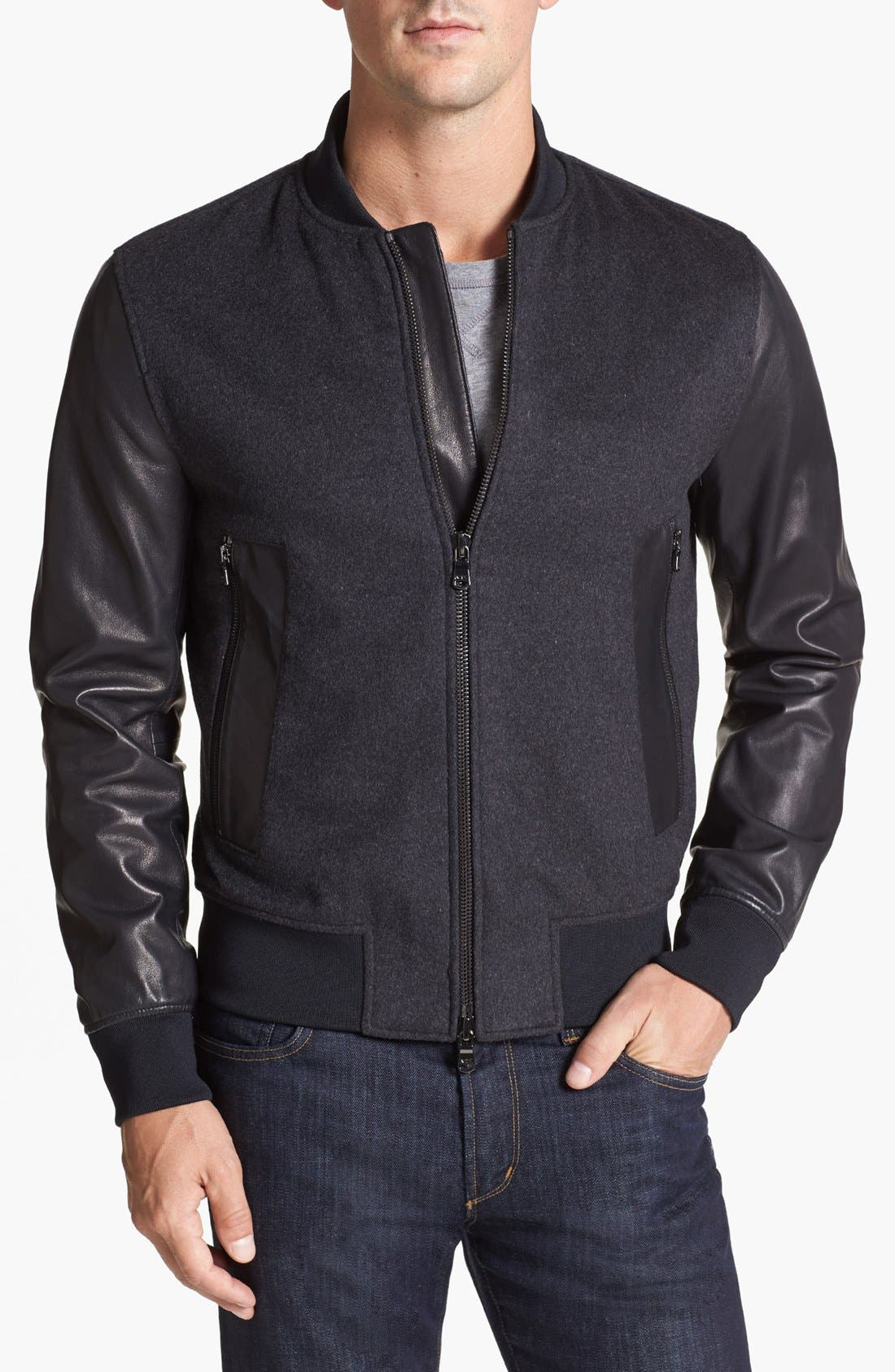 Alternate Image 1 Selected - Michael Kors 'Melton' Leather Sleeve Jacket