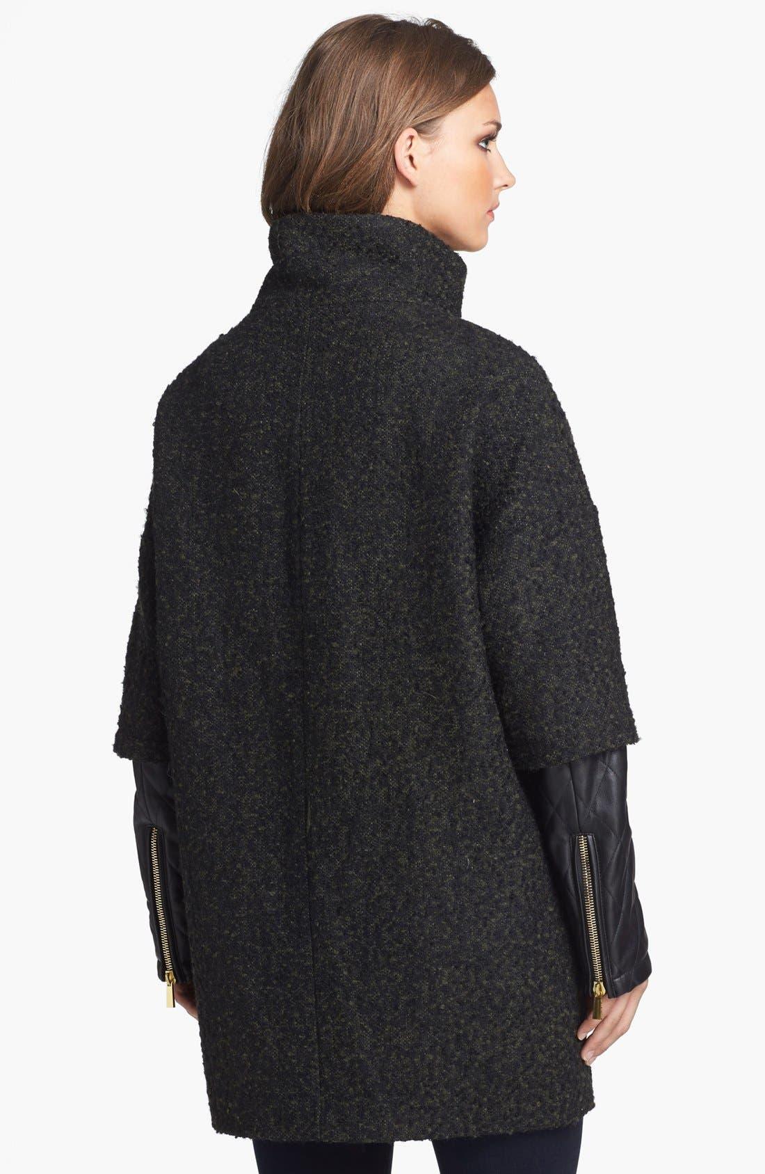 Alternate Image 2  - Vince Camuto Faux Leather Sleeve Bouclé Tweed Coat