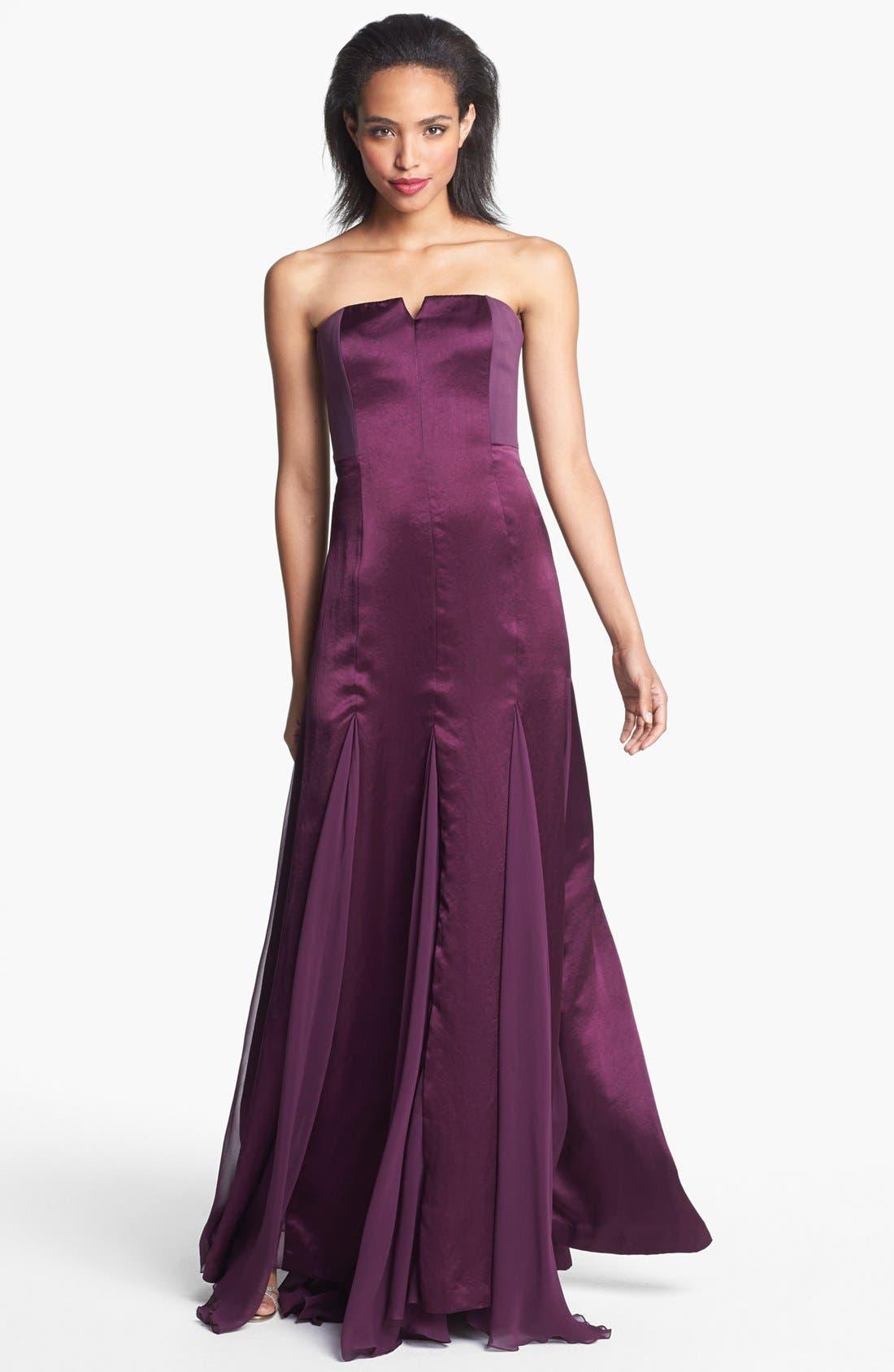 Main Image - Halston Heritage Satin & Chiffon Gown