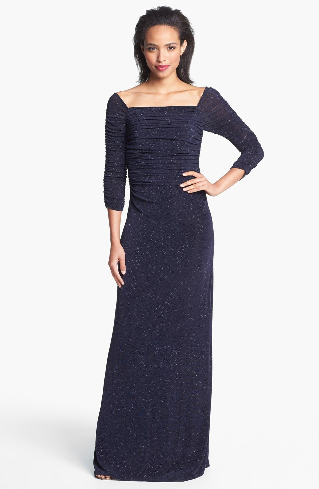 Main Image - Laundry by Shelli Segal Off Shoulder Glitzy Knit Gown