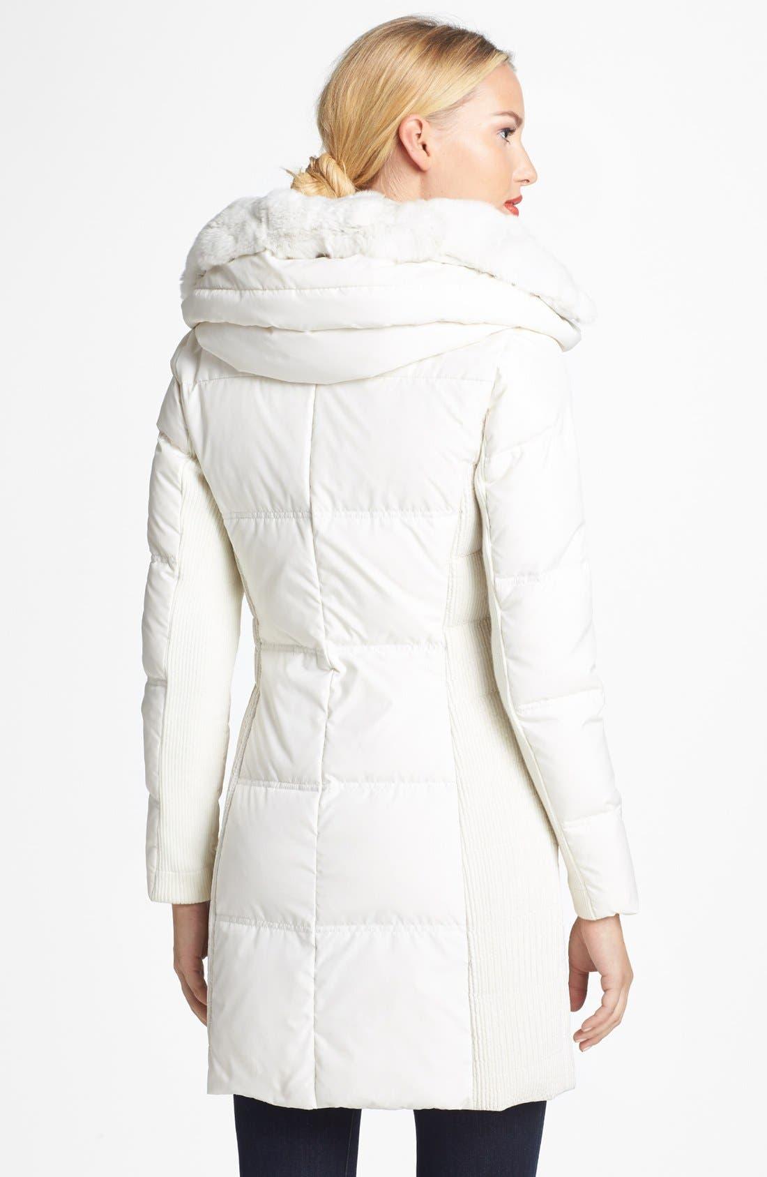 Alternate Image 2  - BCBGMAXAZRIA Genuine Rabbit Fur Trim Hooded Down Coat
