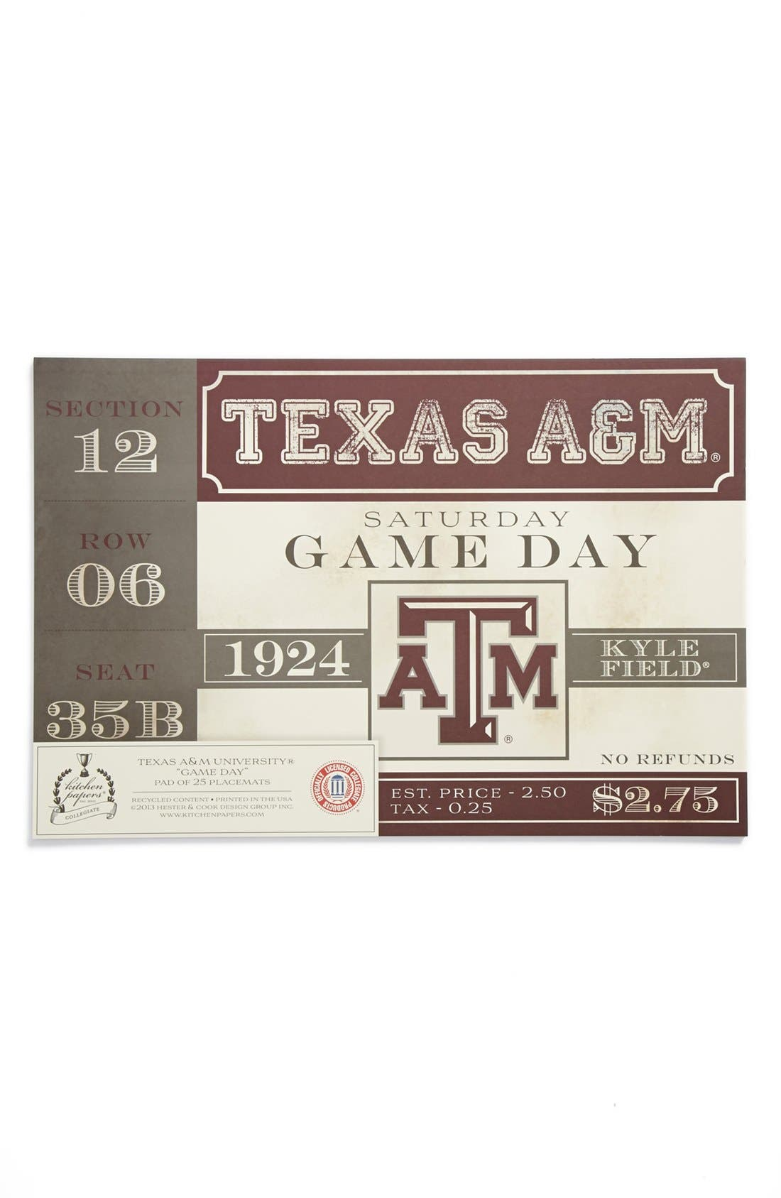 Main Image - Kitchen Papers by Cake 'Vintage Ticket - Texas A&M Aggies' Paper Placemat Pad