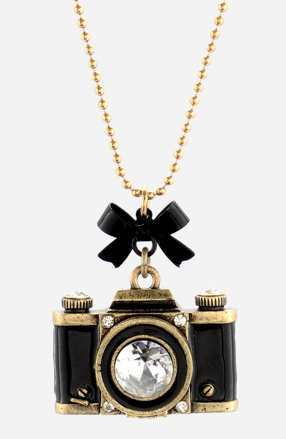 Alternate Image 2  - Betsey Johnson Long Camera Pendant Necklace