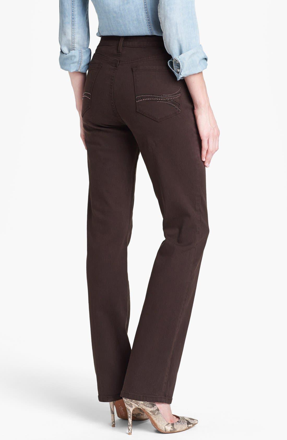 Alternate Image 3  - NYDJ 'Marilyn' Embellished Pocket Stretch Straight Leg Jeans (Ganache) (Regular & Petite)