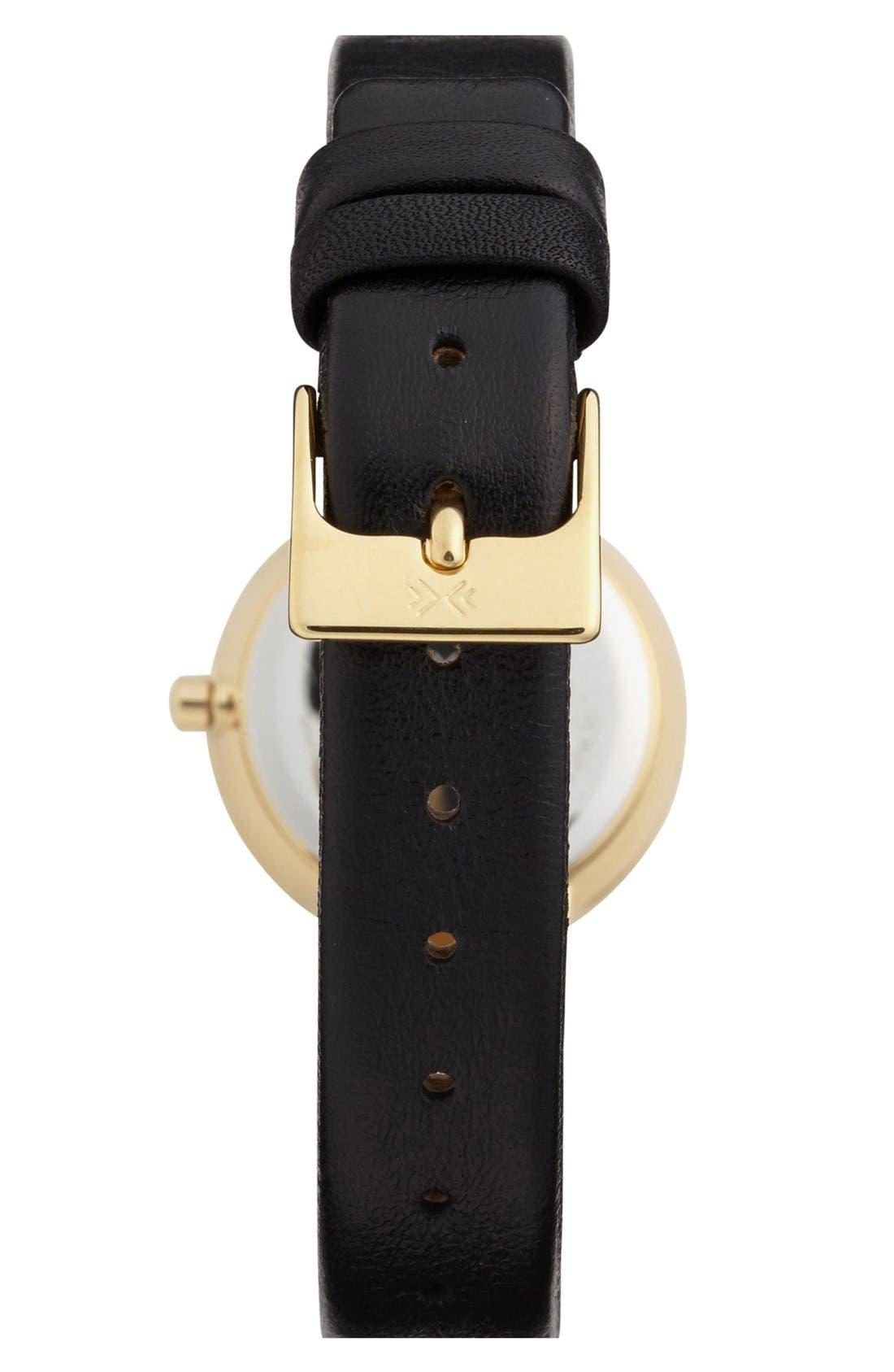 Alternate Image 2  - Skagen Faceted Bezel Leather Strap Watch, 25mm