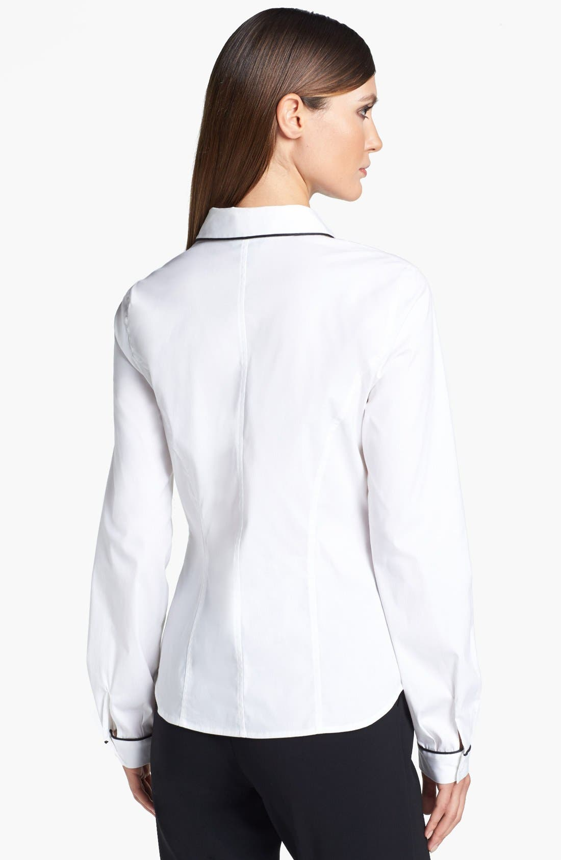 Alternate Image 3  - St. John Collection Piped Poplin Blouse
