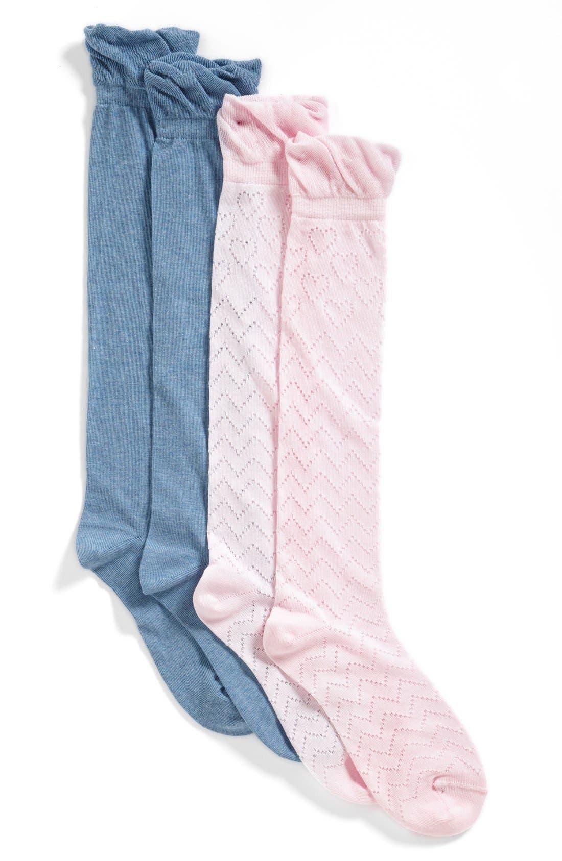 Main Image - Nordstrom 'Pointelle Toppers' Knee Socks (2-Pack) (Little Girls)