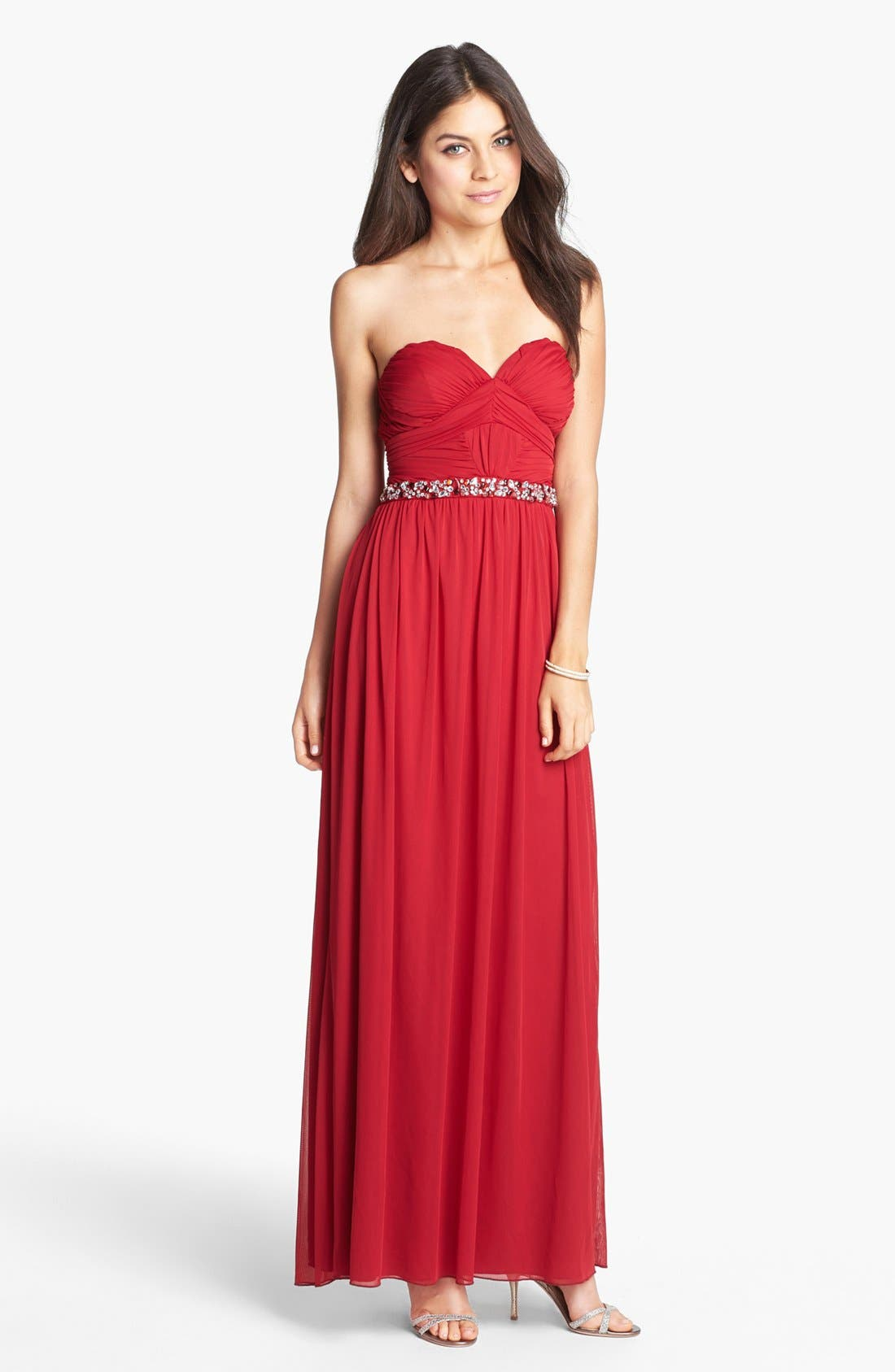 Alternate Image 1 Selected - Way-In Embellished Strapless Gown (Juniors) (Online Only)