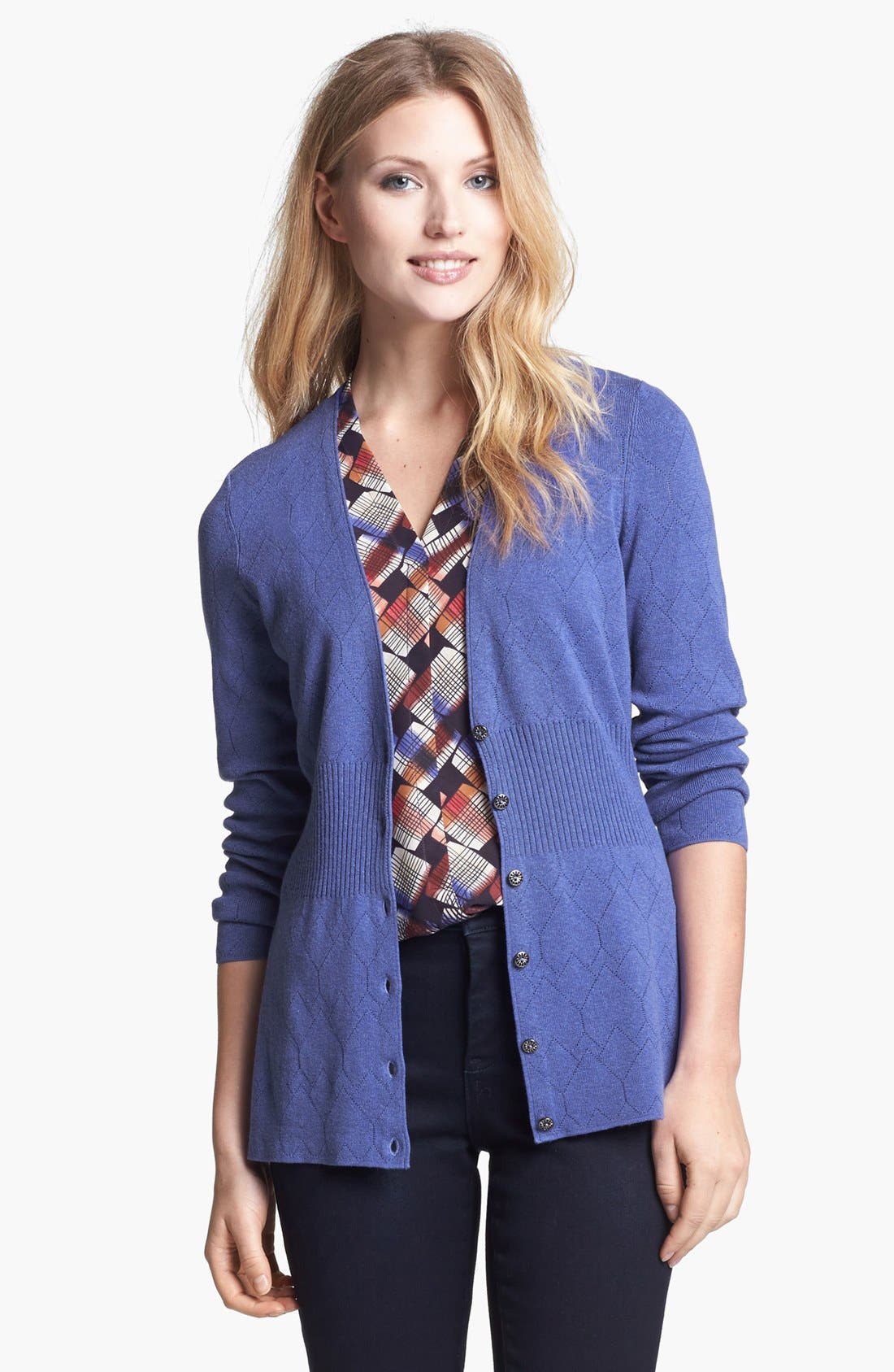 Main Image - NIC+ZOE 'Back of Chair' V-Neck Pointelle Cardigan